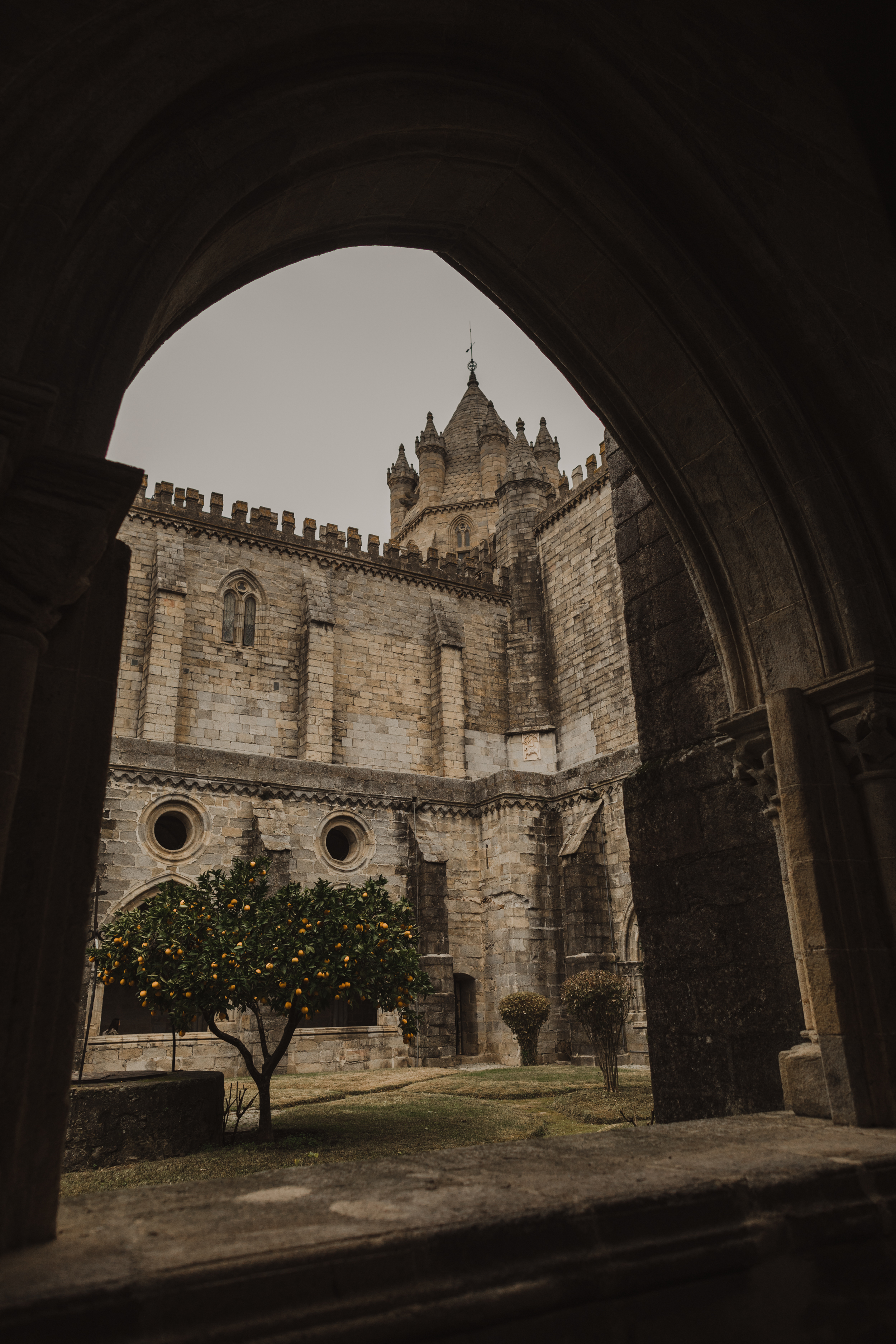 View from the cloisters in Evora Cathedral
