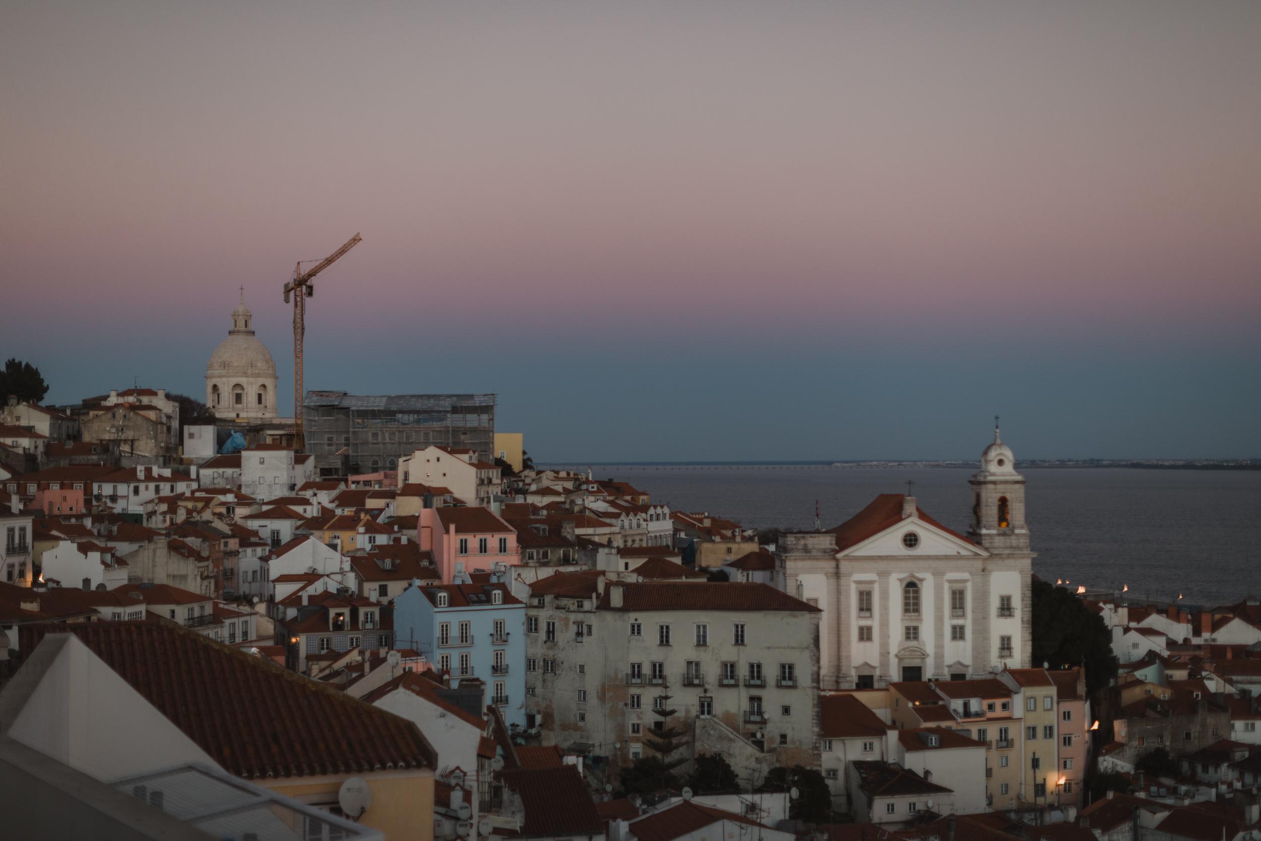 Sunset view from Miradoura de Santa Luzia