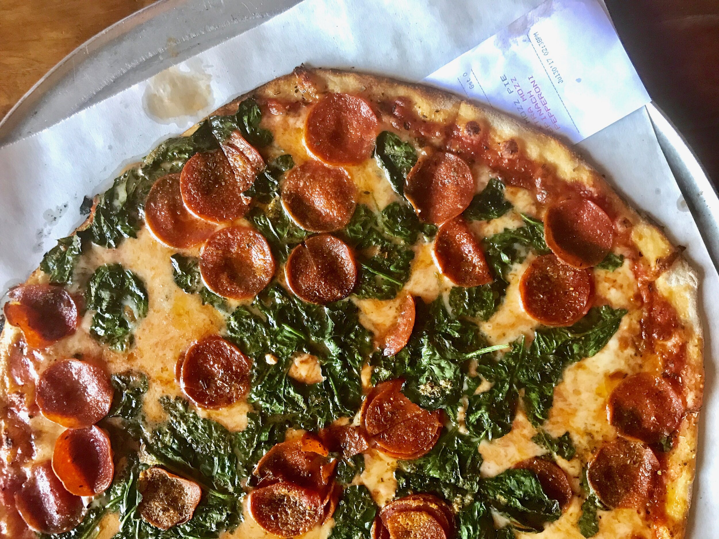 Here's how to order: Size of your choice (Small, Medium or Large), Red, Mozzarella, Extra Mozzarella, Double Pepperoni, Spinach (garlic suggested)