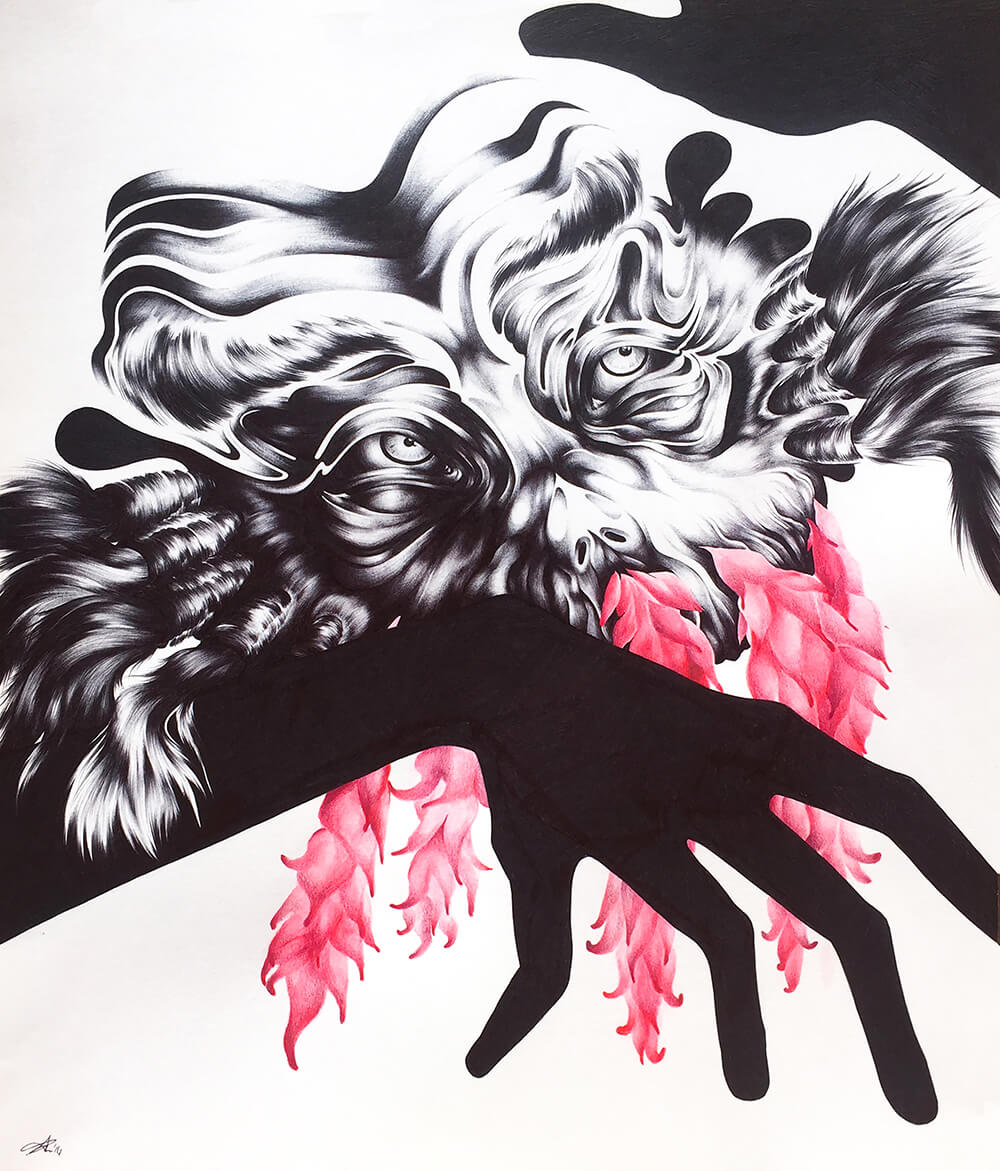 Creature #3    Medium: Black Ballpoint Pen, Watercolor, and Colored Pencil