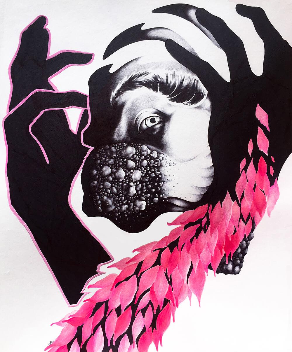 Creature #2     Medium: Black Ballpoint Pen, Watercolor, Colored Pencil, and G  ouache