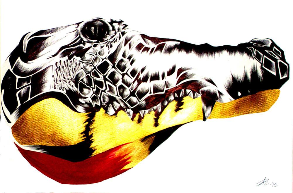 Crocodile    Medium: Black Ballpoint Pen and Acrylic Paint
