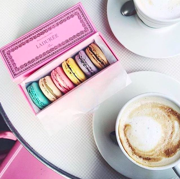 - Ladurée-Queen Catherine de' Medici originally brought the single macaron to France from Italy in the 16th century, but it was a Ladurée baker who had the unique idea to place two macaron shells together with creamy ganache as the filling. Ladurée has been perfecting the art of the macaron since 1862 so it's not surprising we had to stay for seconds. Highlights: rose, coffee, chocolate, pistachio, orange blossom, lime coconut, hazelnut, strawberry candy, caramel, raspberry.