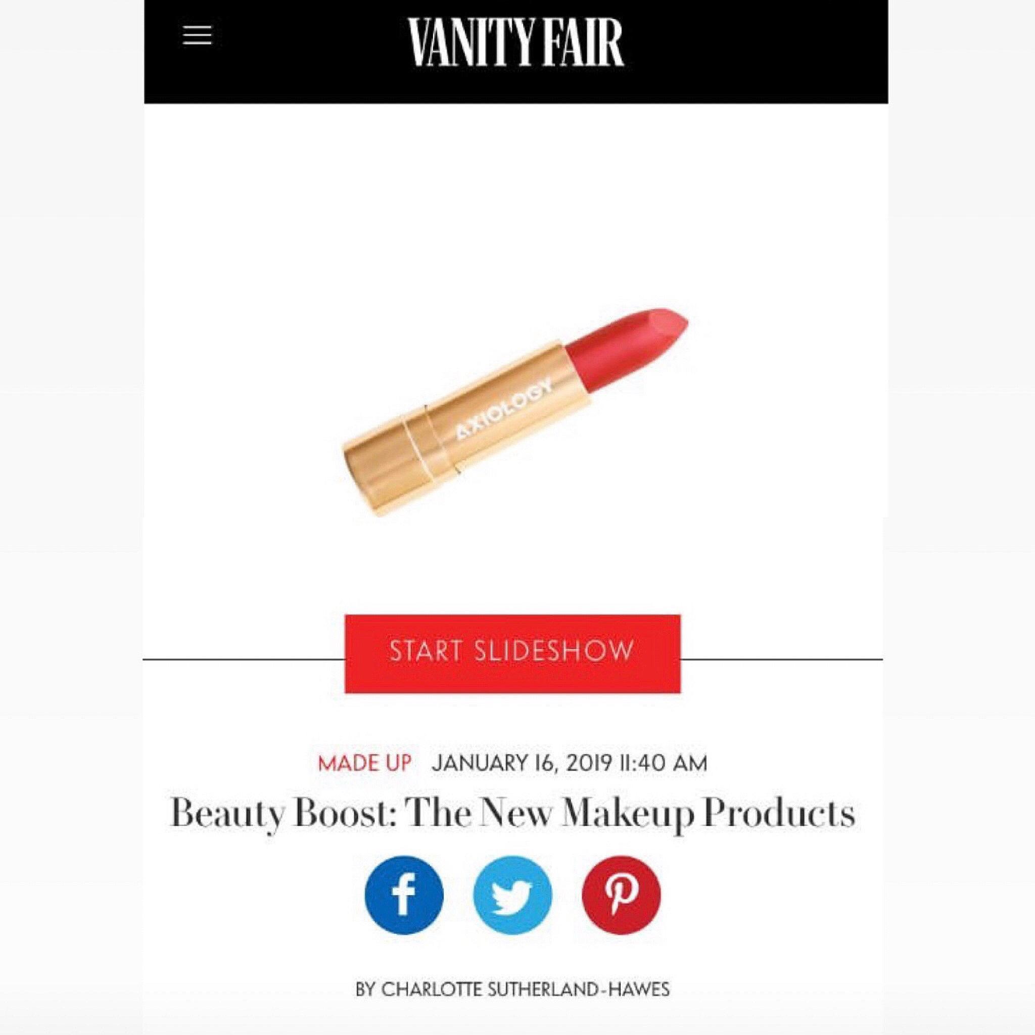 VANITY FAIR - JANUARY 2019   Axiology Lipstick shot