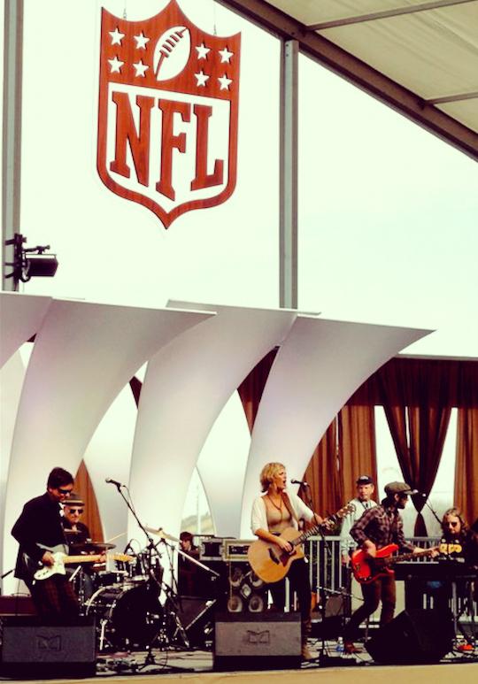 Above,Playing at Super Bowl, Dallas, TX