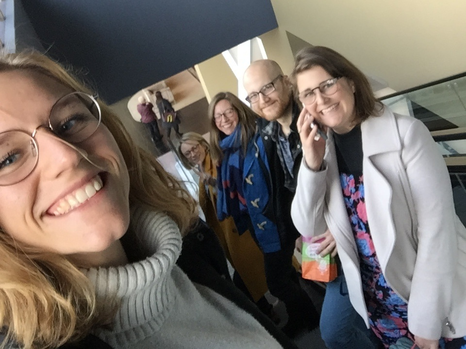 Is it even a team-day if you don't do an escalator selfie in the cinema? (Work calls still a priority)