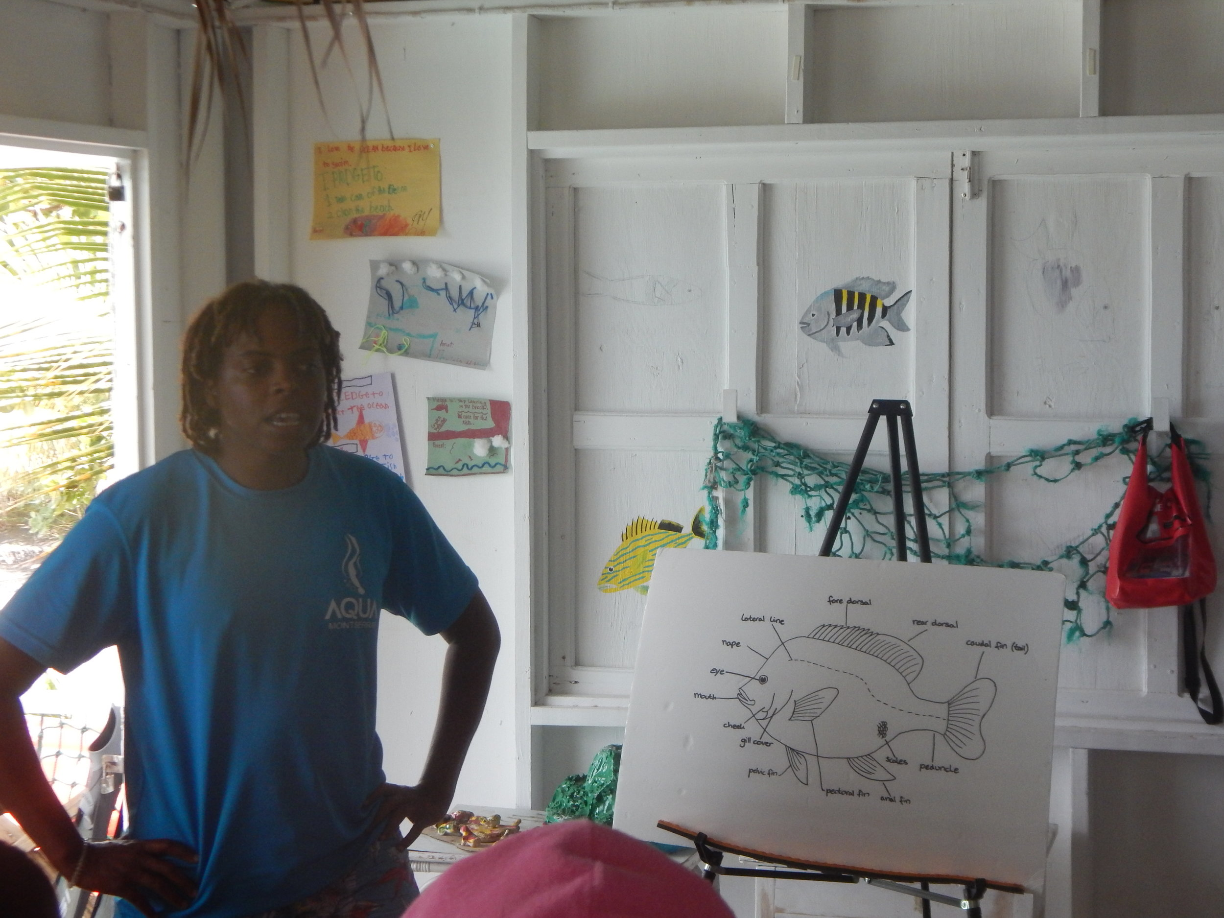 Veta Wade, the founder of Fish 'N Fins, teaches fish anatomy