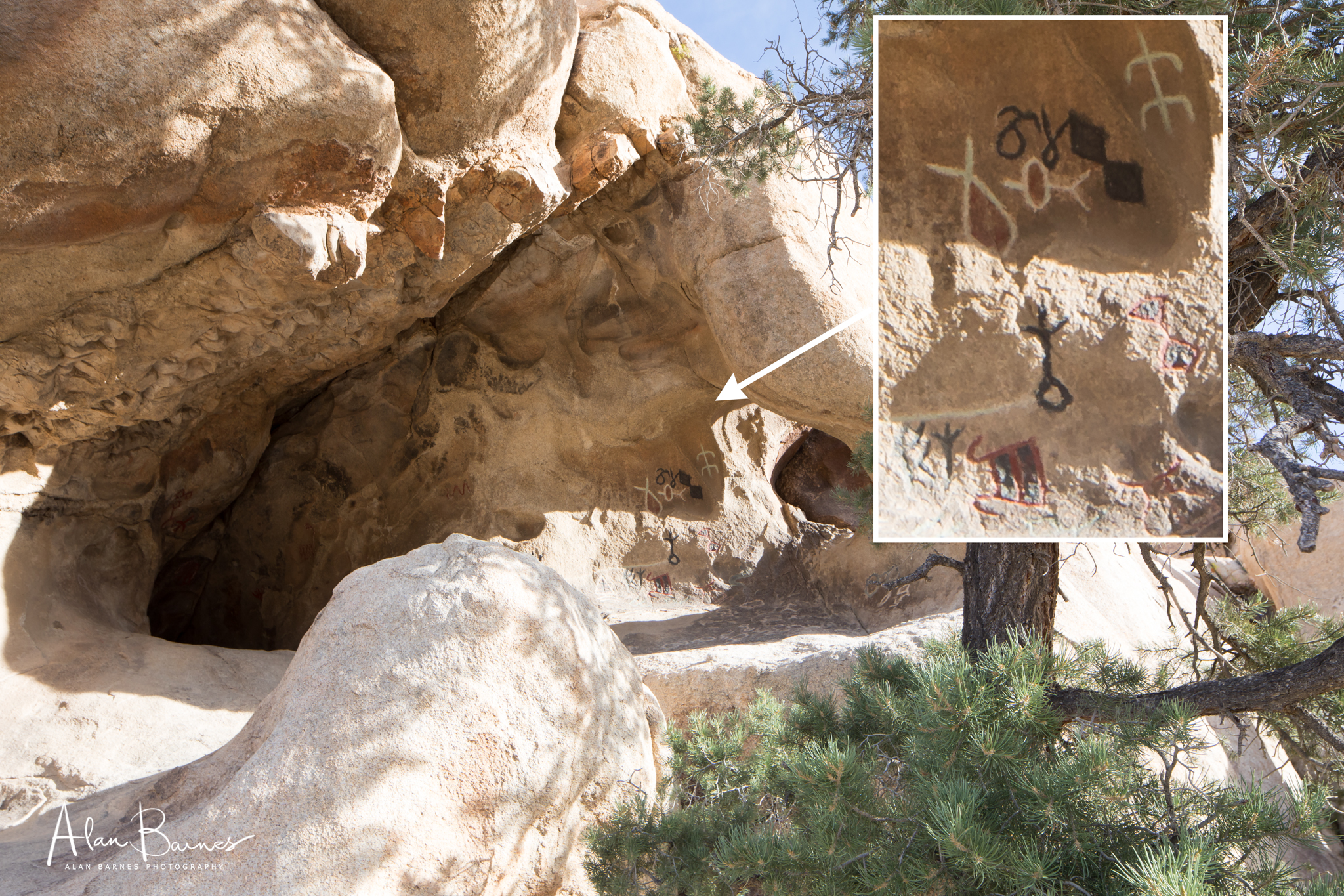Petroglyphs left by Native Americans, were not clear enough for a Hollywood film production team so they coloured them in and added to them. Unforgivable.