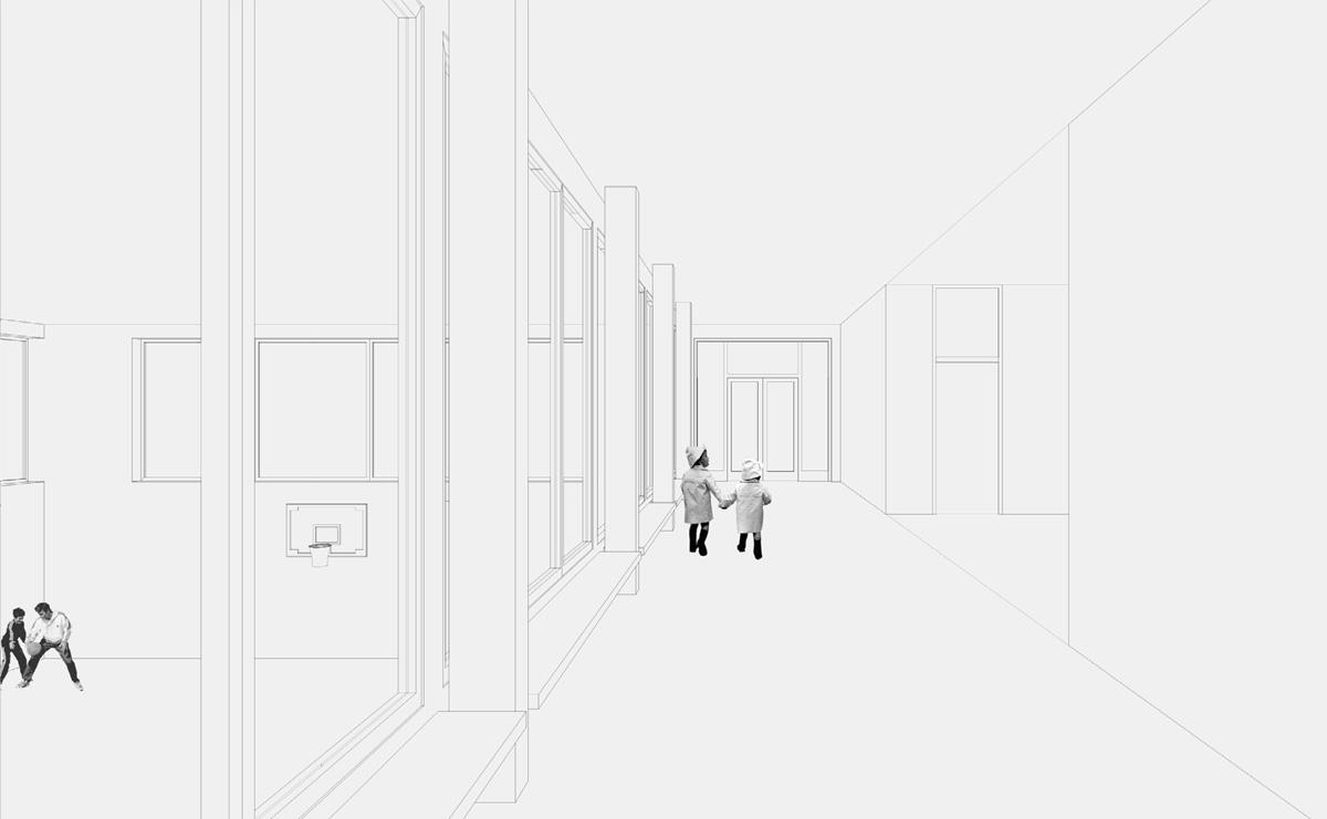 Linienzeichnung, Eingangshalle