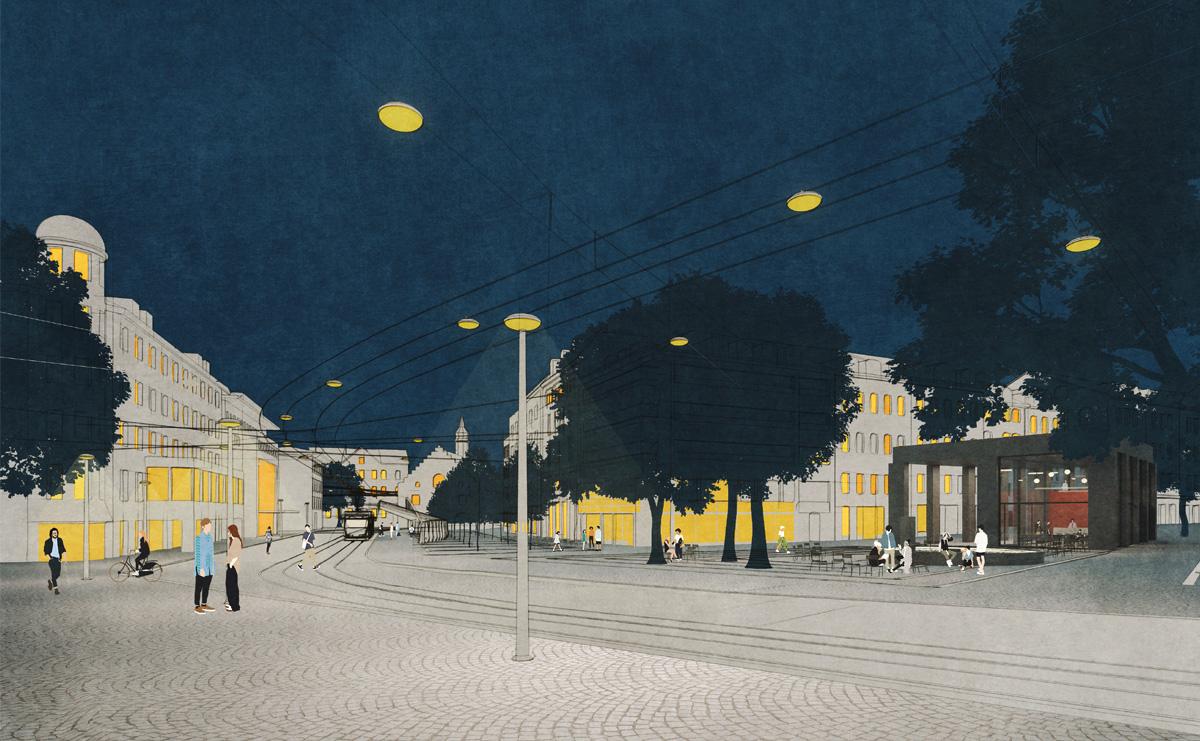 Blick zum Bohl / Waaghaus, Atmosphäre Nacht