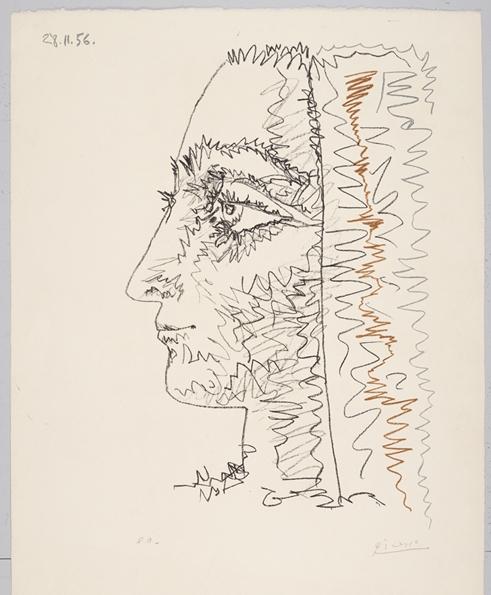 Profil en trois couleurs  (1956) (cropped) by Pablo Picasso. For sale by Galerie Boisserée.