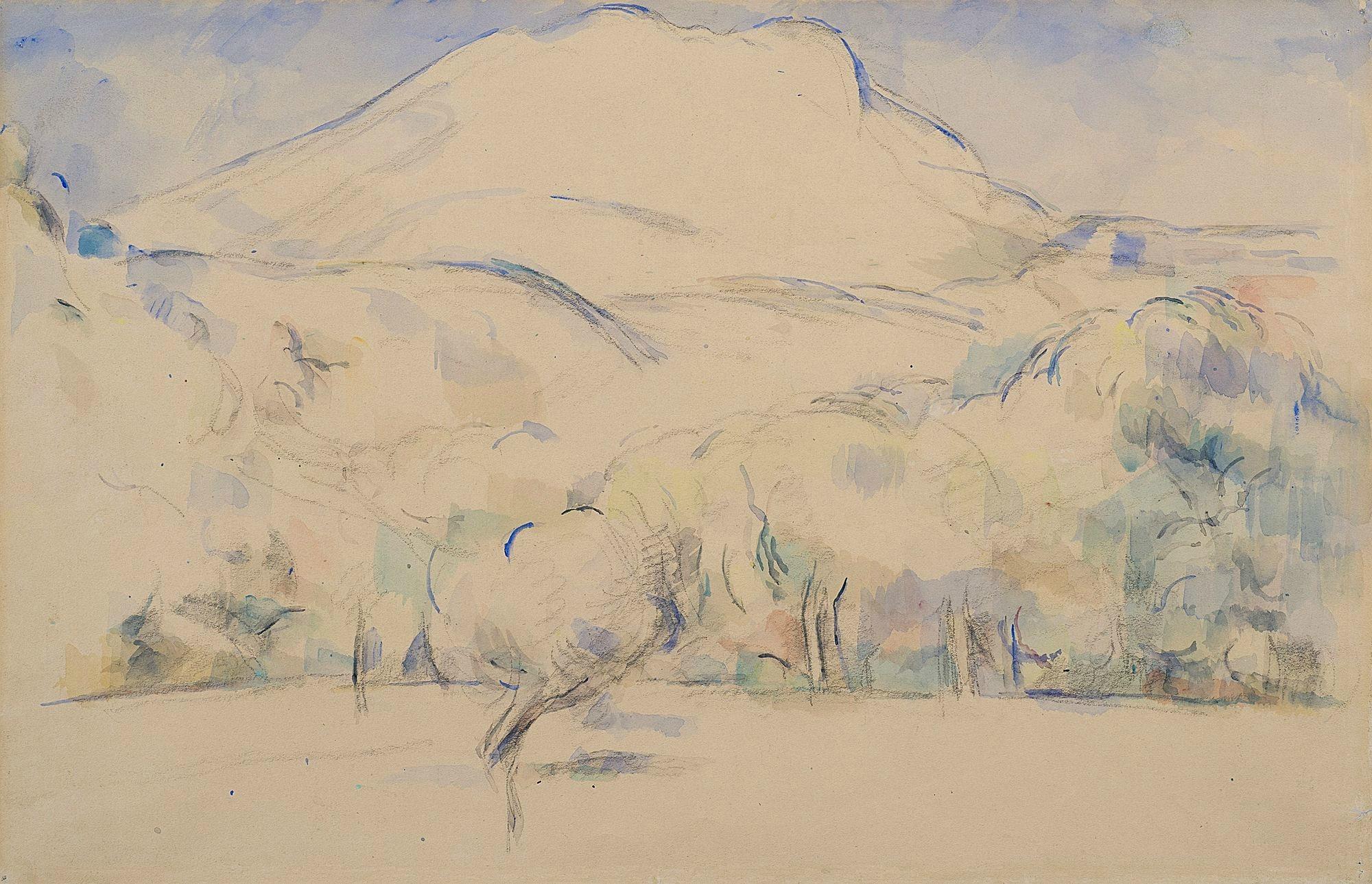 Mont Sainte-Victoire  (c. 1890) Paul Cézanne. 28 x 44.5 cm, watercolour on paper. Offered by Dickinson at TEFAF 2018.