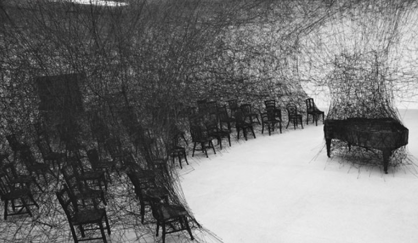 On&On   La Casa Encendida, Madrid  14 artists from around the globe, exploring themes of ephemeral art. Co-curated with Olivier Varenne, many of the artworks in La Casa Encendida were site-specific.  Image: Chiharu Shiota