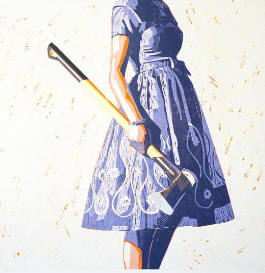 Kelly Reemtsen,  Splitting Hairs  (2012) Woodcut printed in colours. For sale at Lyndsey Ingram, LOPF 2019
