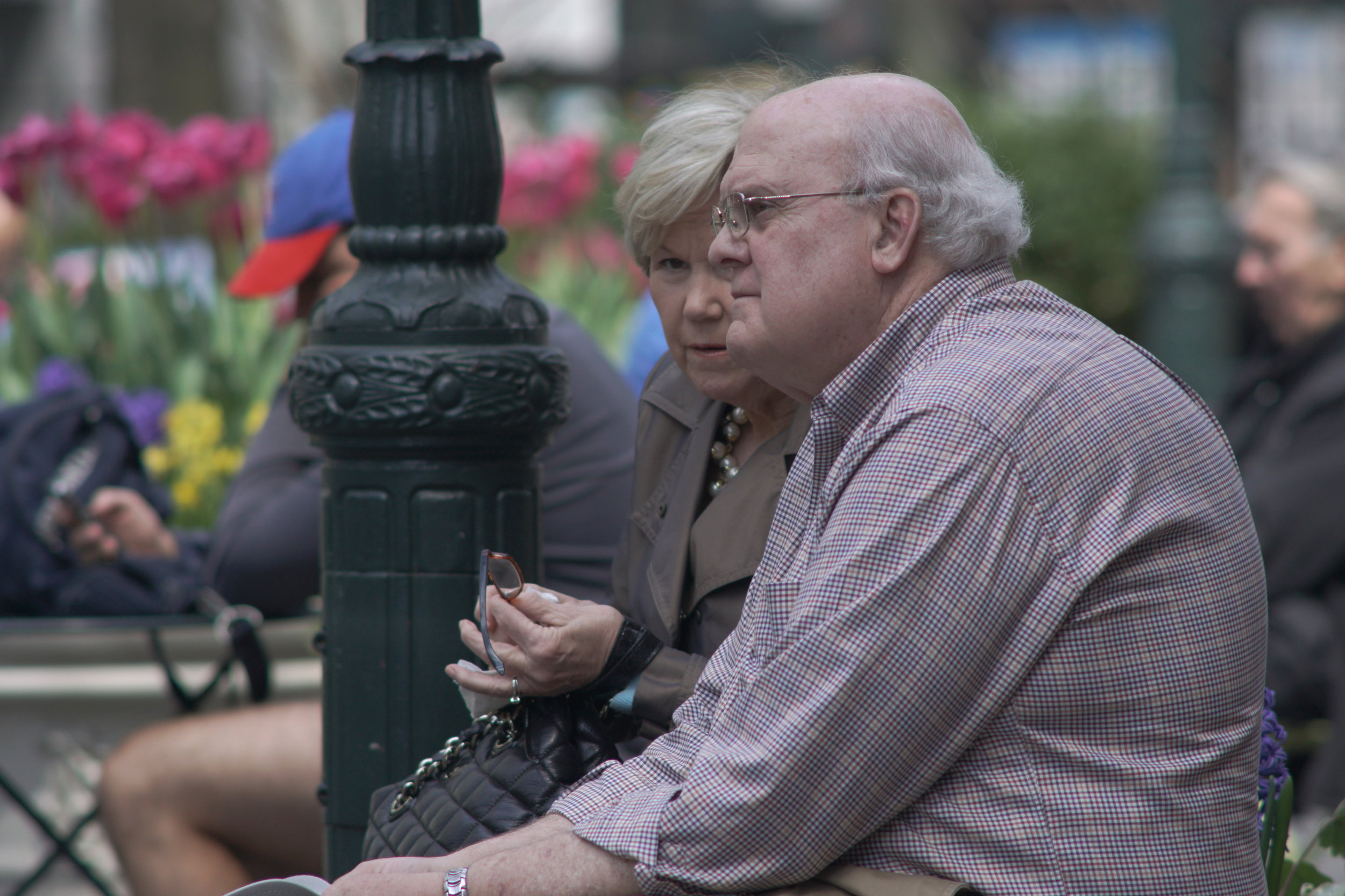 Street Photography with A Telephoto Lens, elderly couple conversing