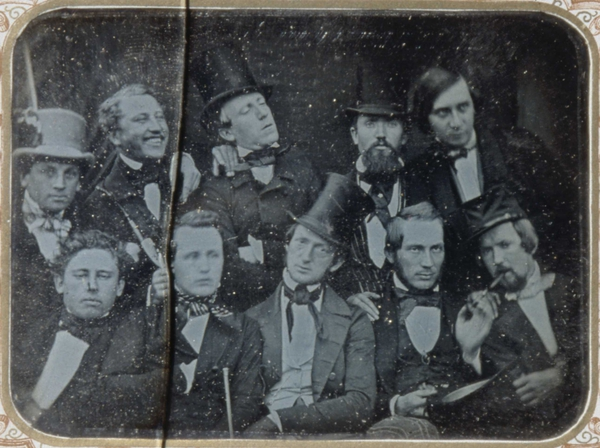 Earliest Known Images of People Smiling, Daguerreotype of a group of intellectuals in Oslo, Norway, c. 1850 (source)