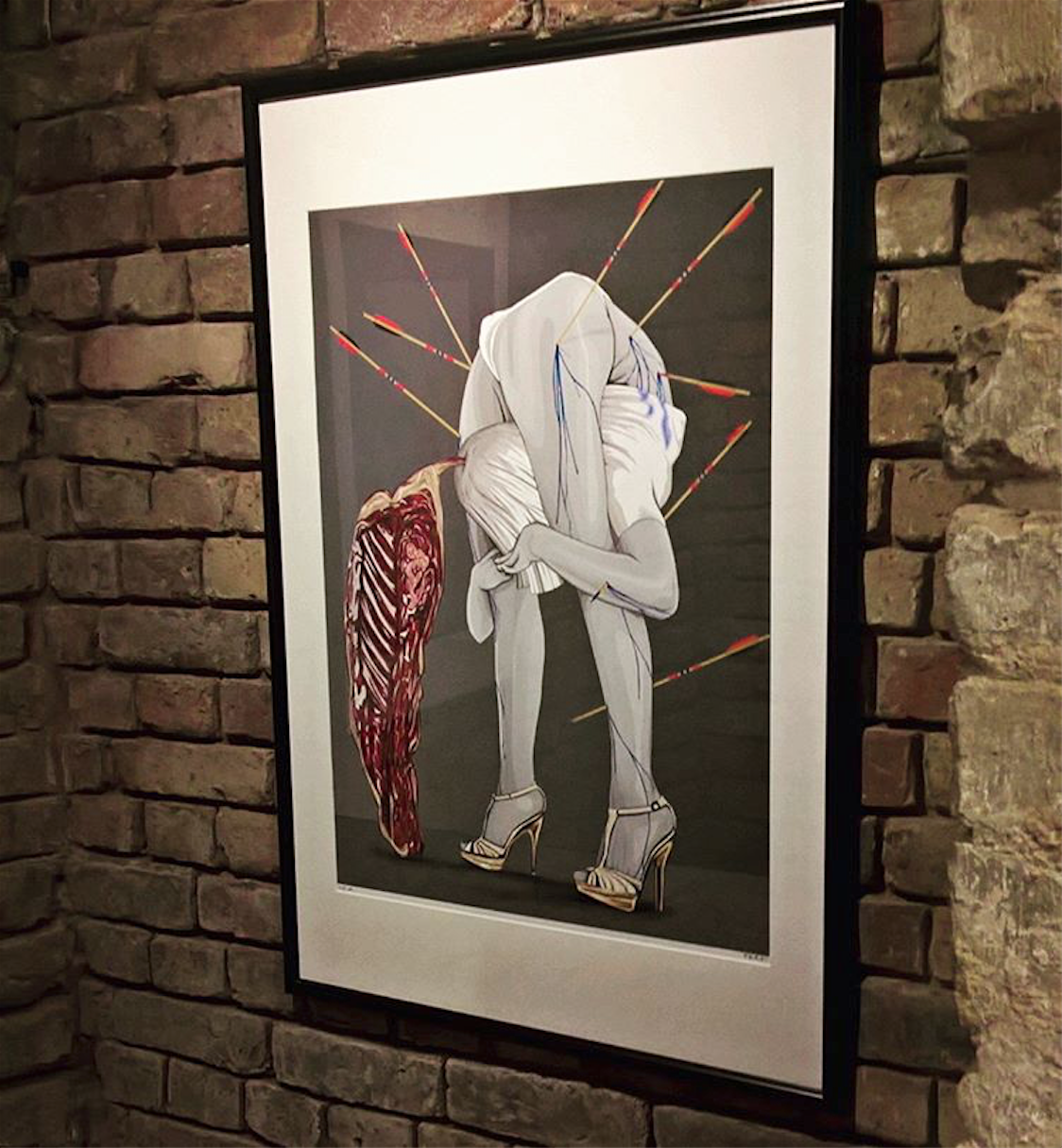 One of Espira's 'Tran-Sebastianne' prints hanging in a rock'n'roll home in east London