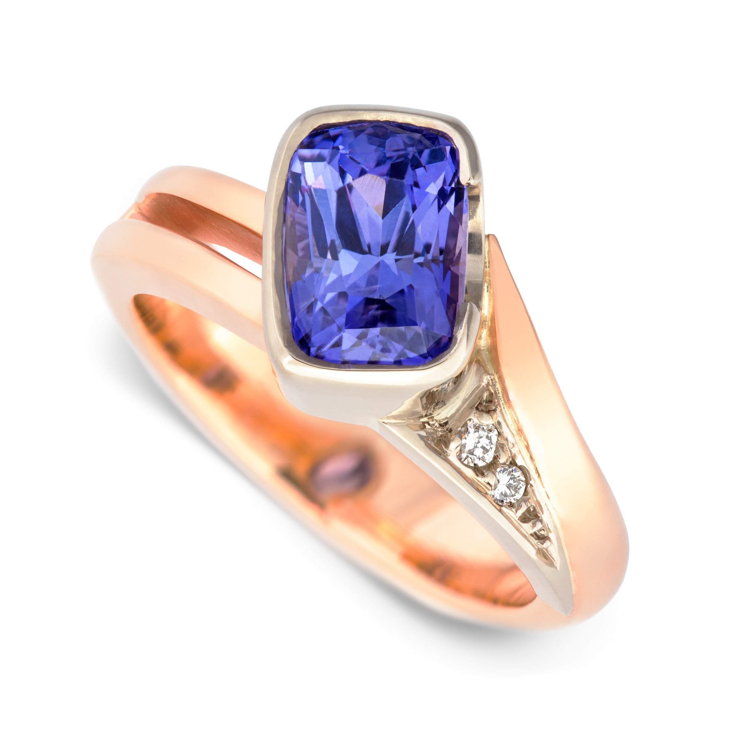 Bespoke 9ct rose gold, purple sapphire and diamond engagement ring commission