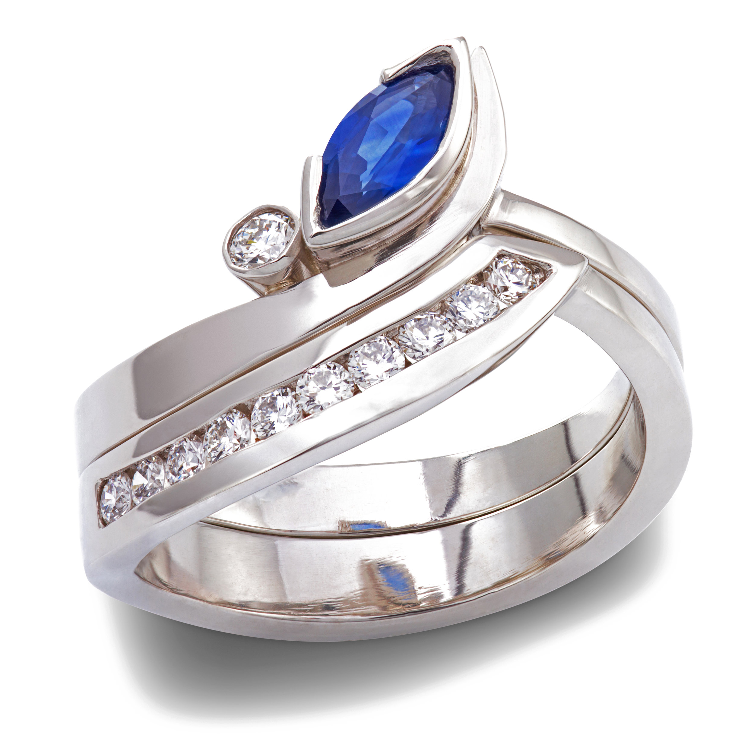 Platinum, sapphire and diamond engagement & wedding ring set - available to buy