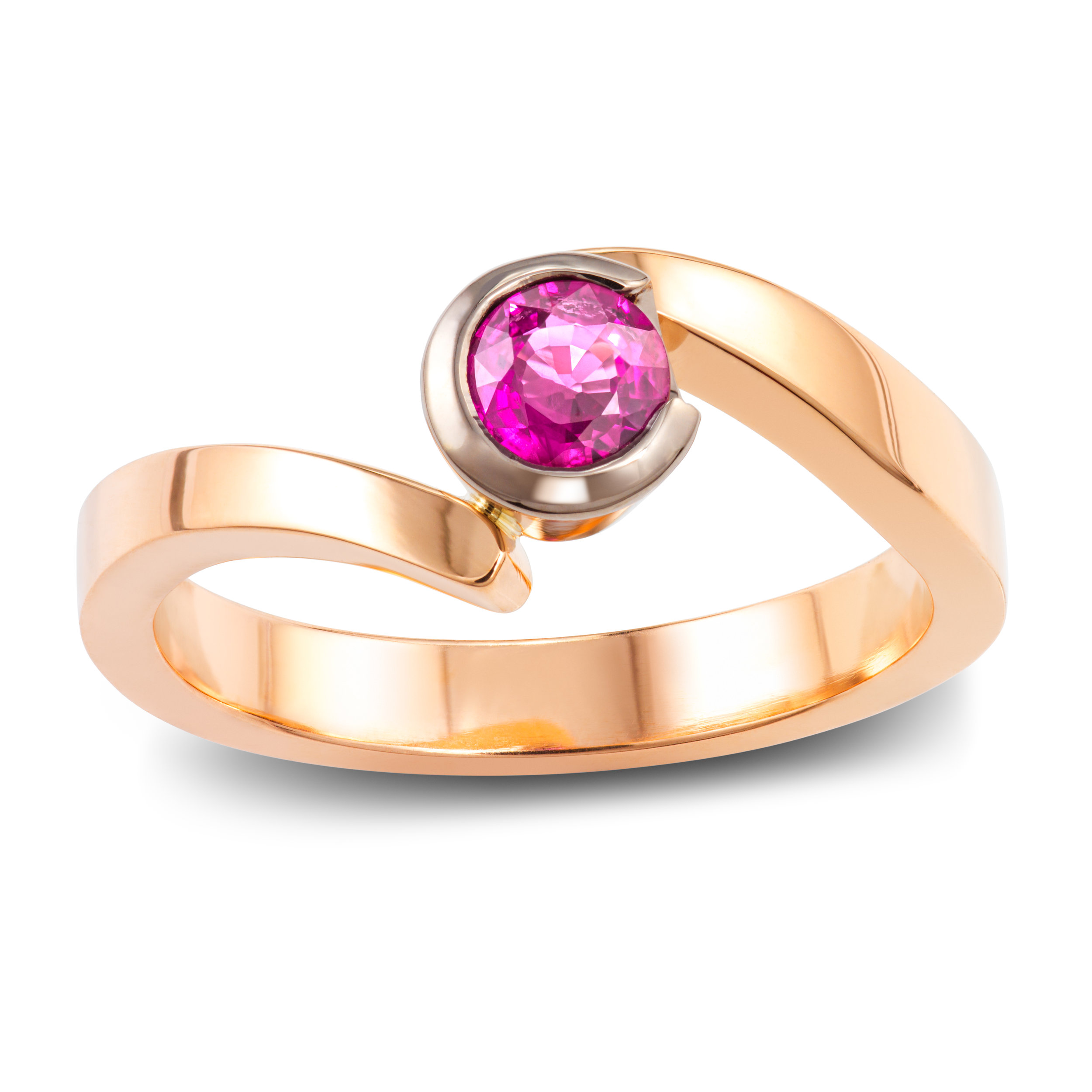 Bespoke 9ct rose gold and lab created pink sapphire dress ring commission
