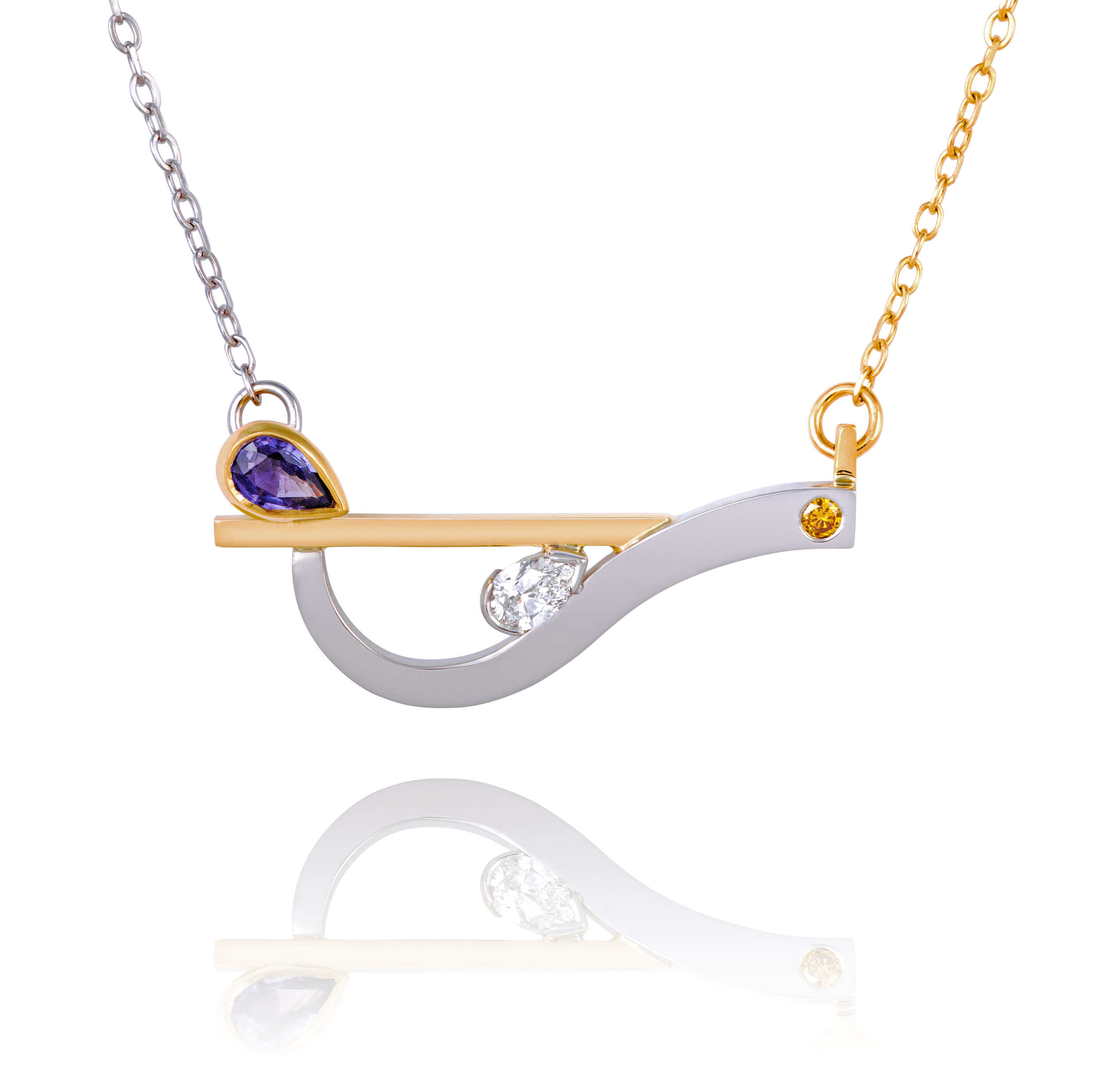 18ct yellow gold and palladium pendant set with a purple sapphire, a natural yellow diamond and a pear shape diamond - see available to buy