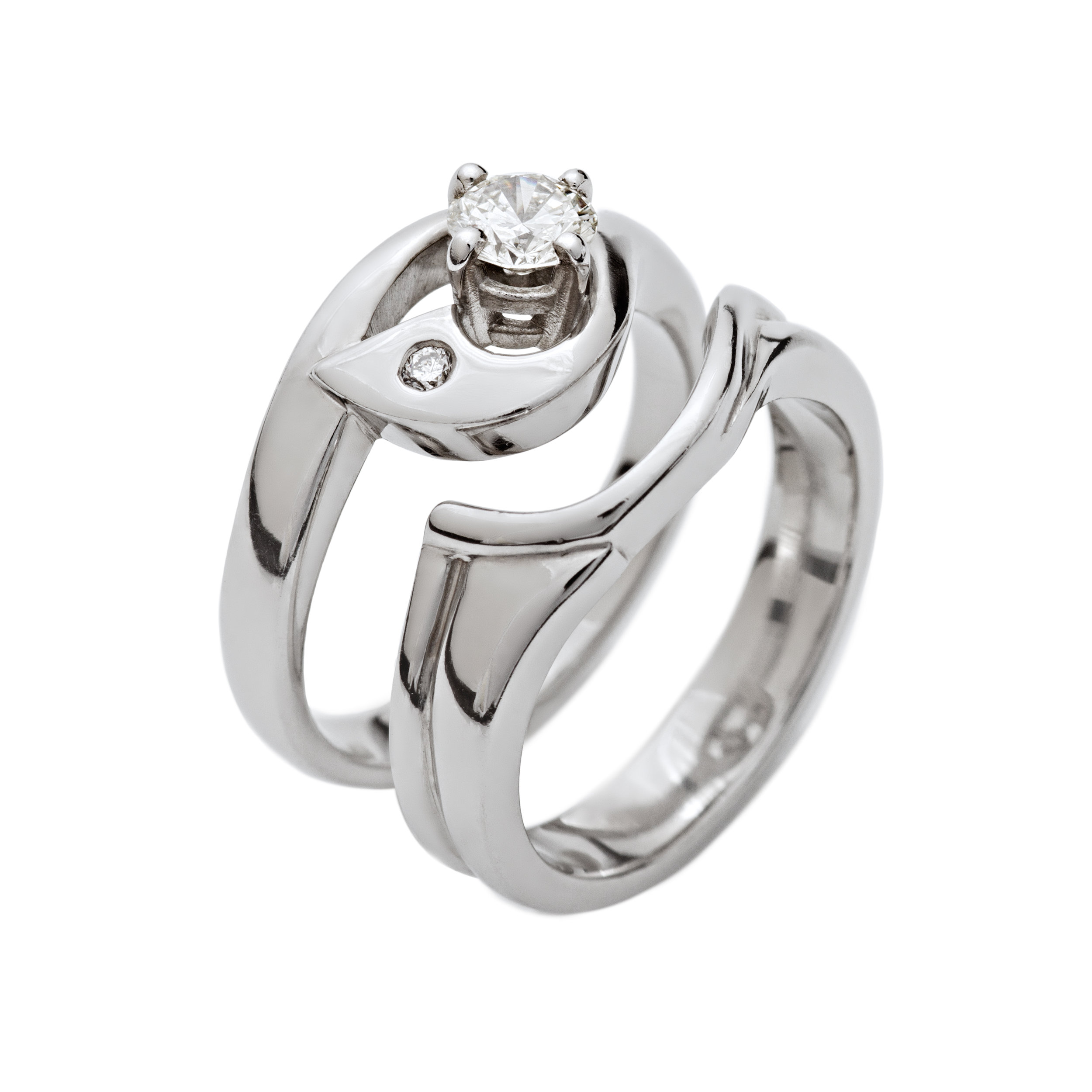 Bespoke 18ct white gold and diamond engagement and wedding ring commission