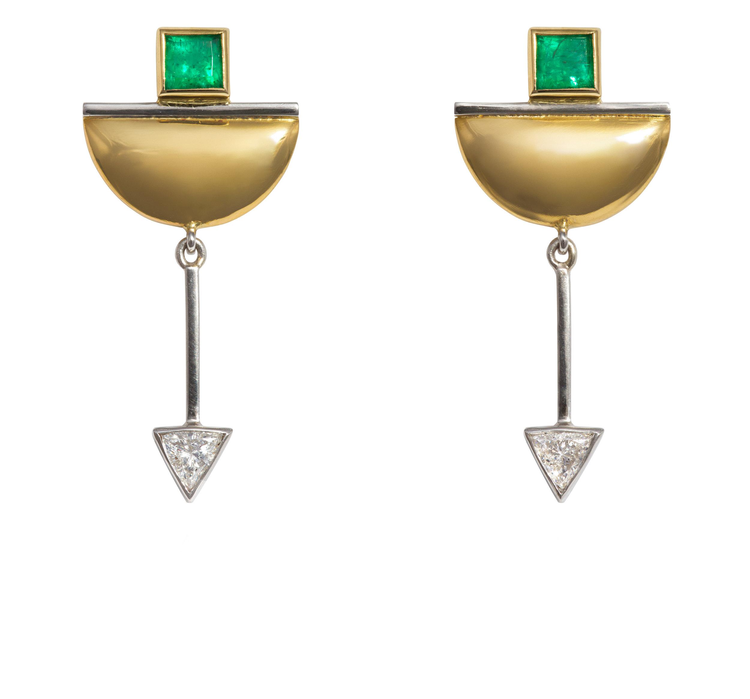 Bespoke emerald and diamond earring commission