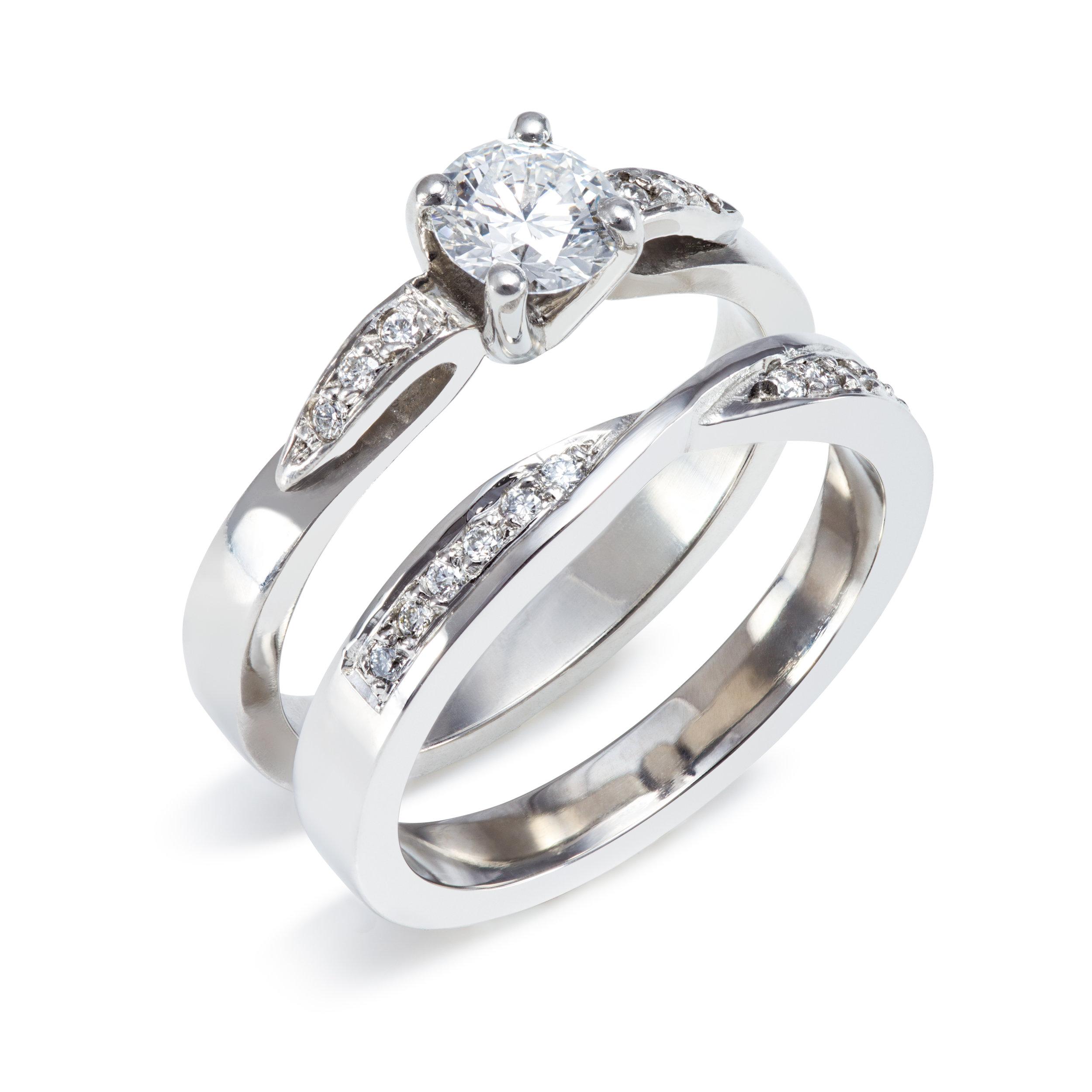 Bespoke platinum and diamond engagement and wedding ring commission
