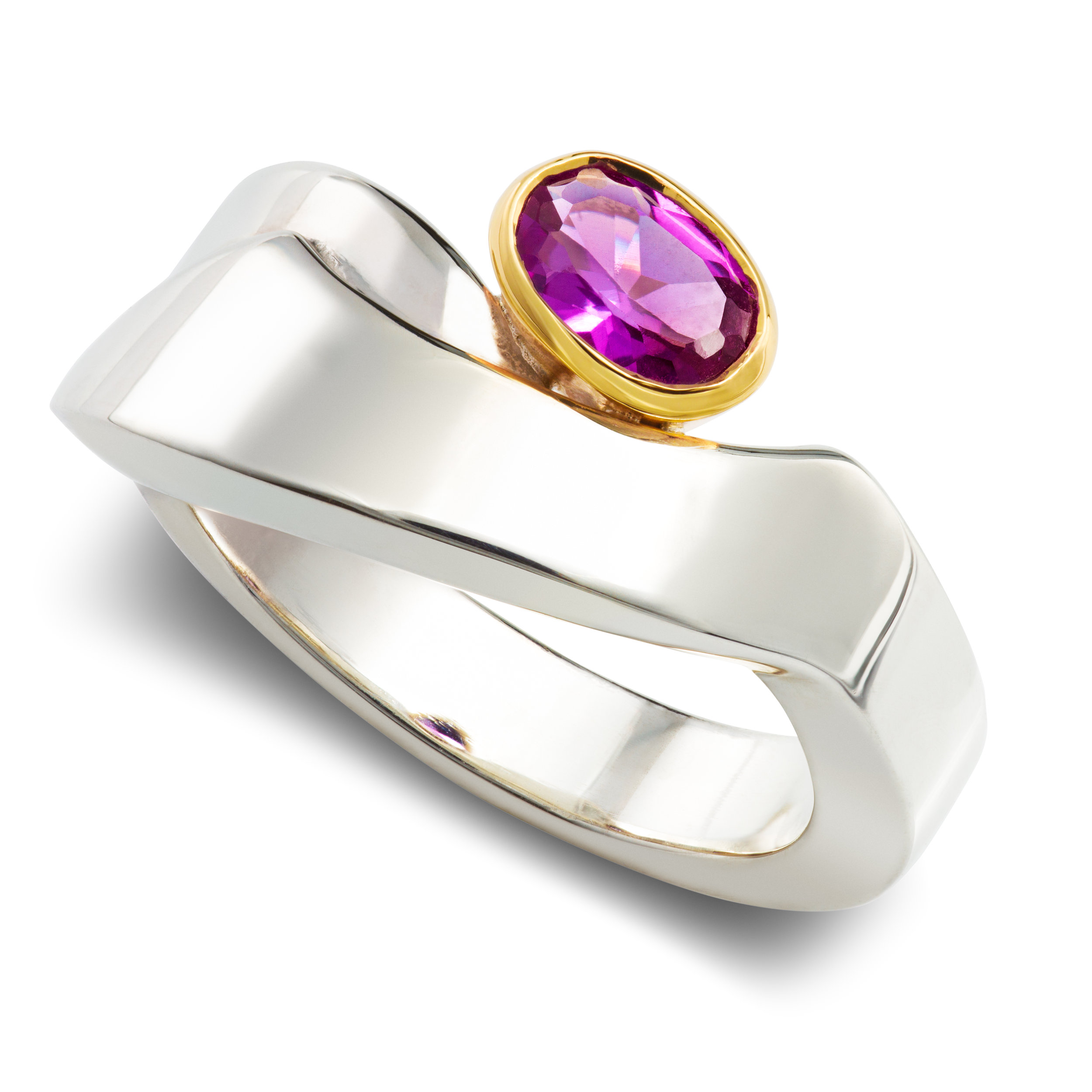 Silver dress ring set with one lab created alexandrite in a 9ct yellow gold rubover - £338