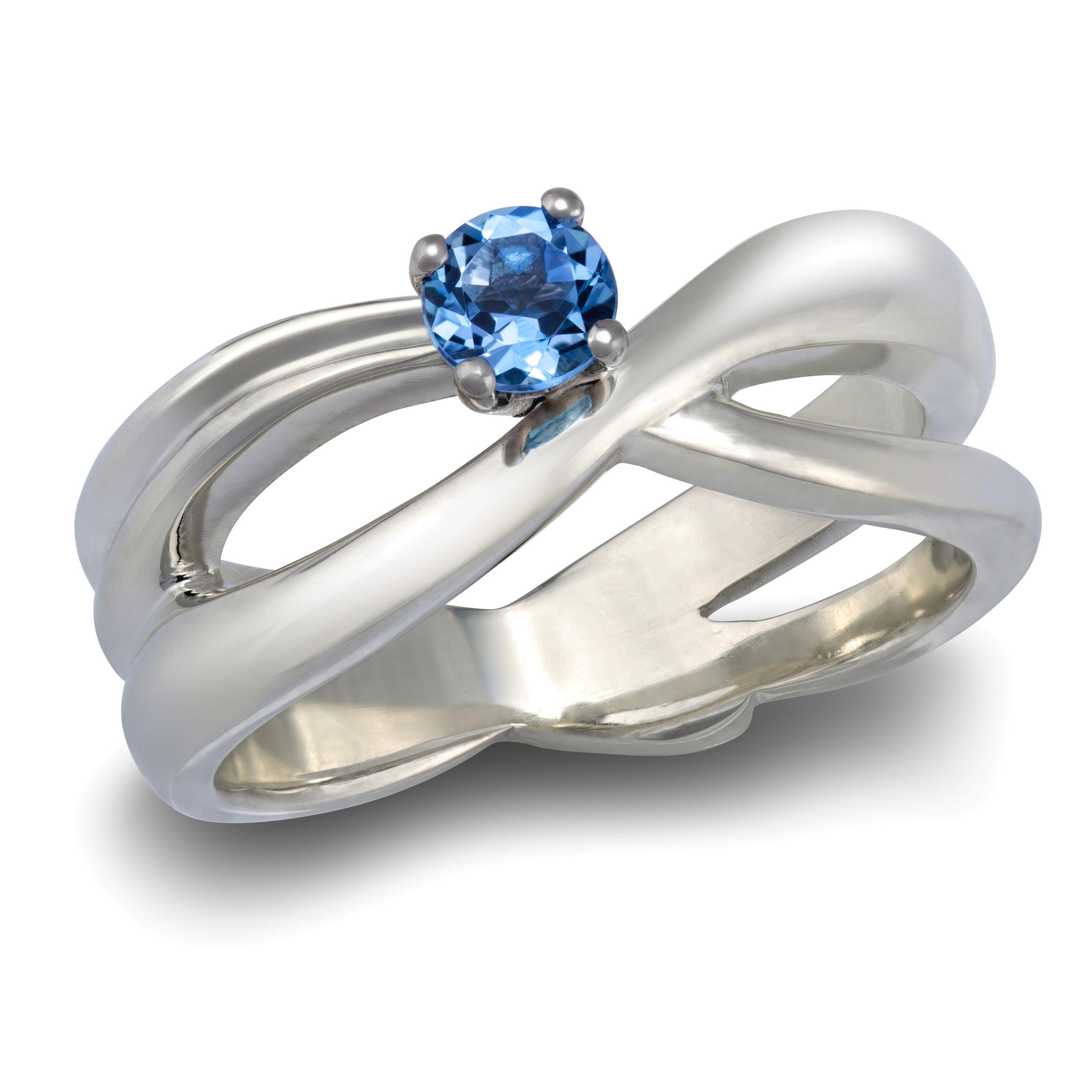 9ct white gold dress ring set with one aquamarine - £1,290
