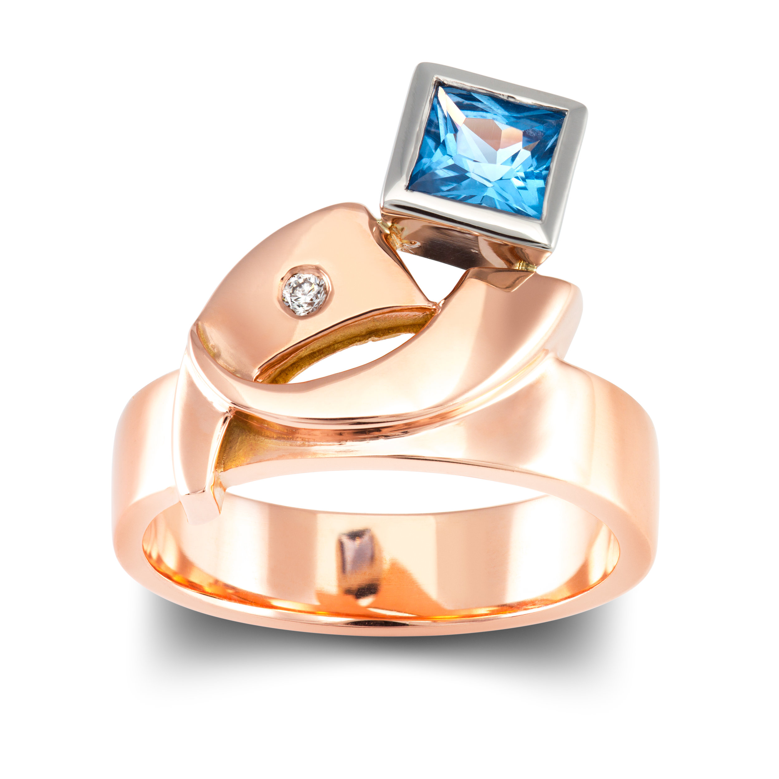 9ct rose gold dress ring set with one square spinel in a platinum rubover and one invisibly set round brilliant cut diamond - £1,272