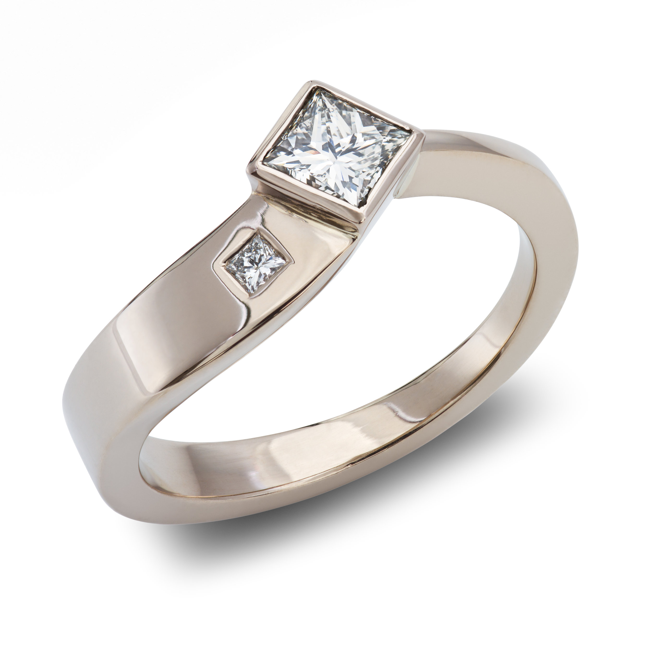 18ct white gold engagement ring set with two princess cut diamonds - £2,680