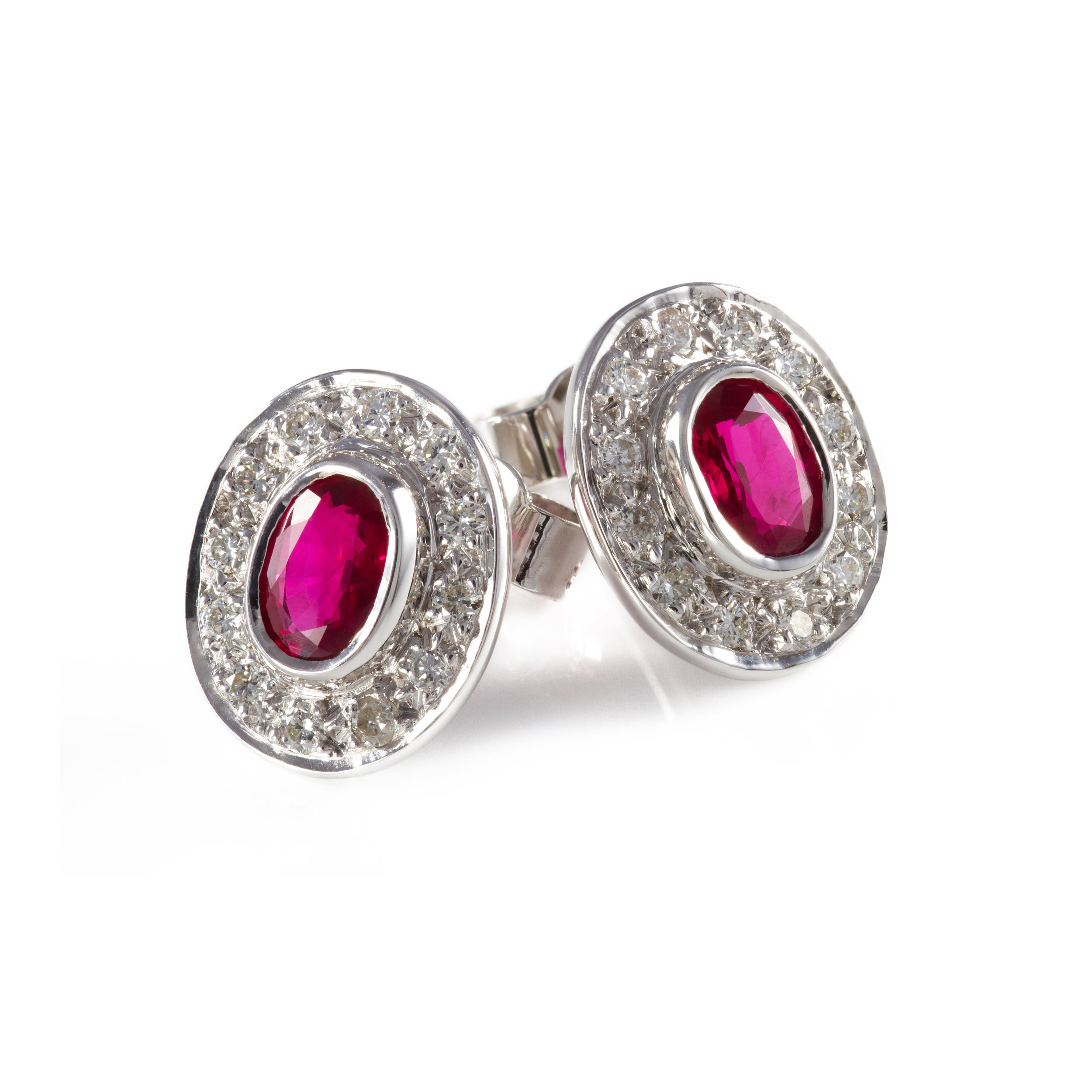 Bespoke ruby and diamond earring commission
