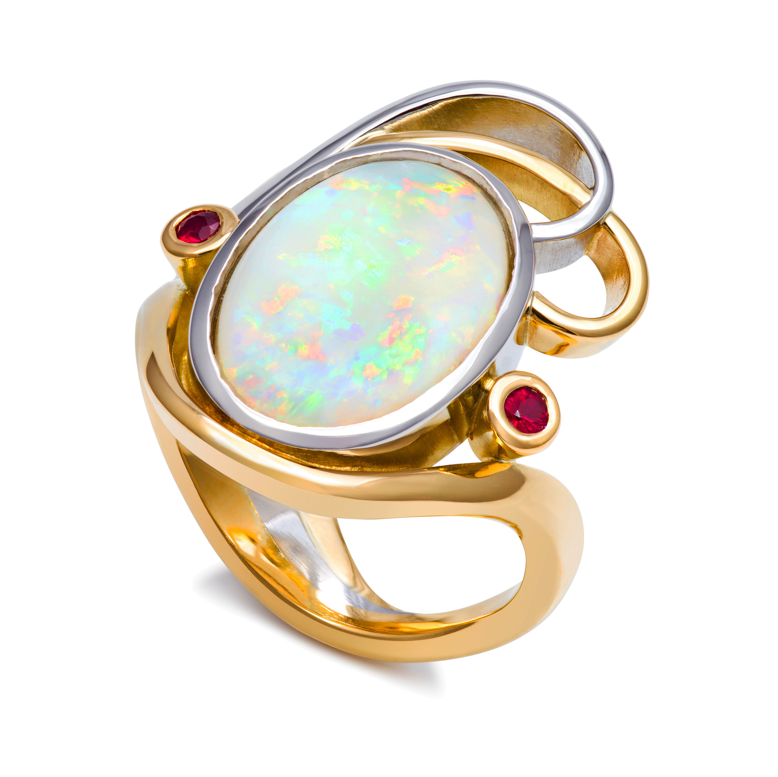 Bespoke 18ct yellow gold, platinum, opal and ruby dress ring commission