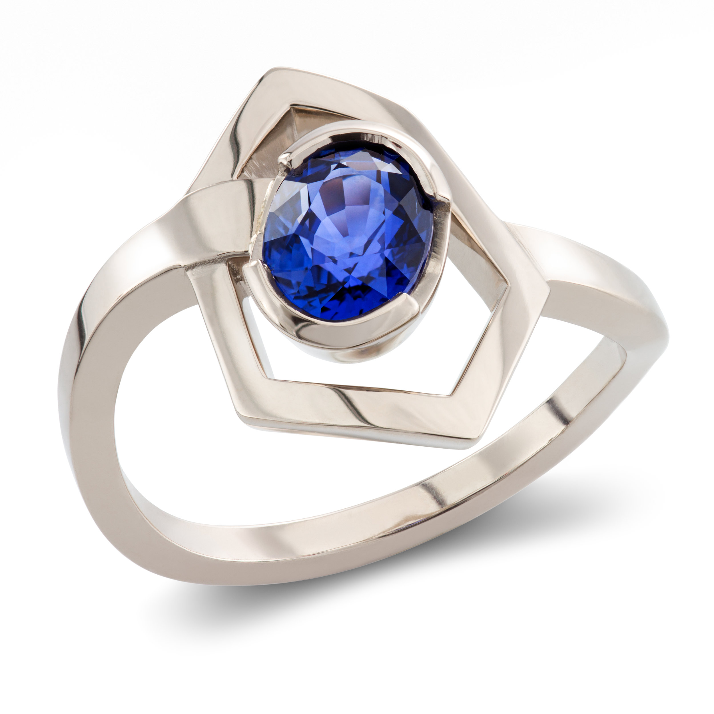 Bespoke 18ct white gold and sapphire dress ring commission
