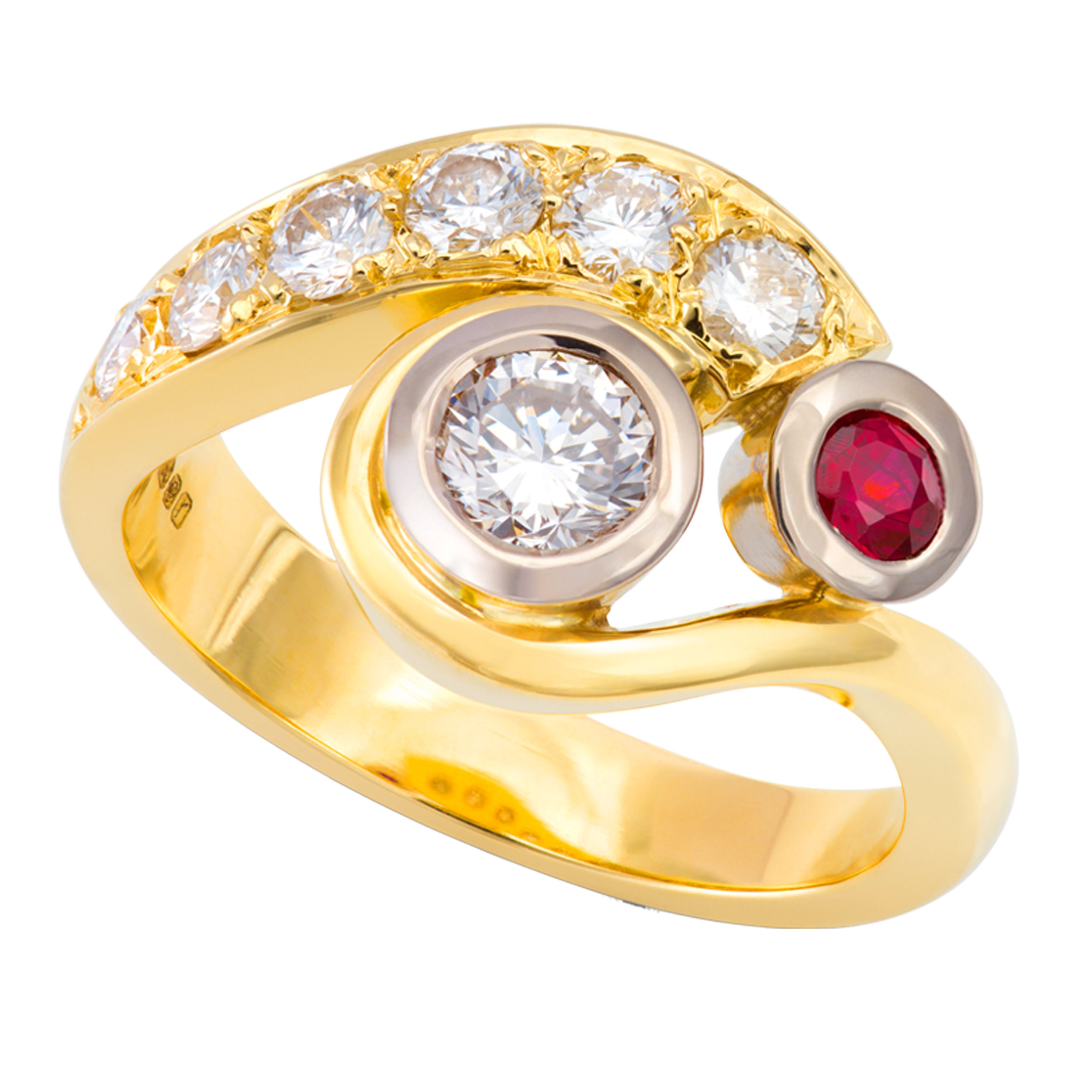 Bespoke 18ct yellow gold, ruby and diamond engagement and eternity ring commission