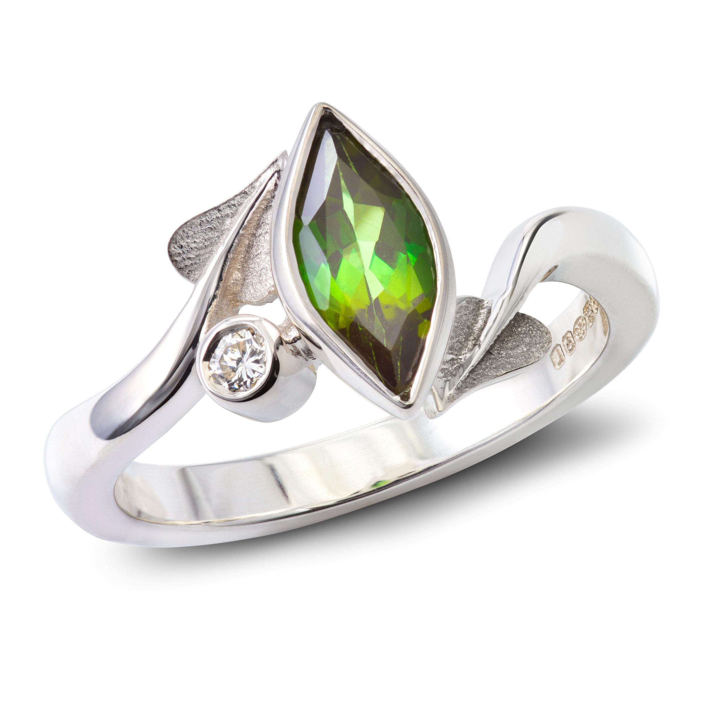 Bespoke silver,tourmaline and diamond engagement ring commission