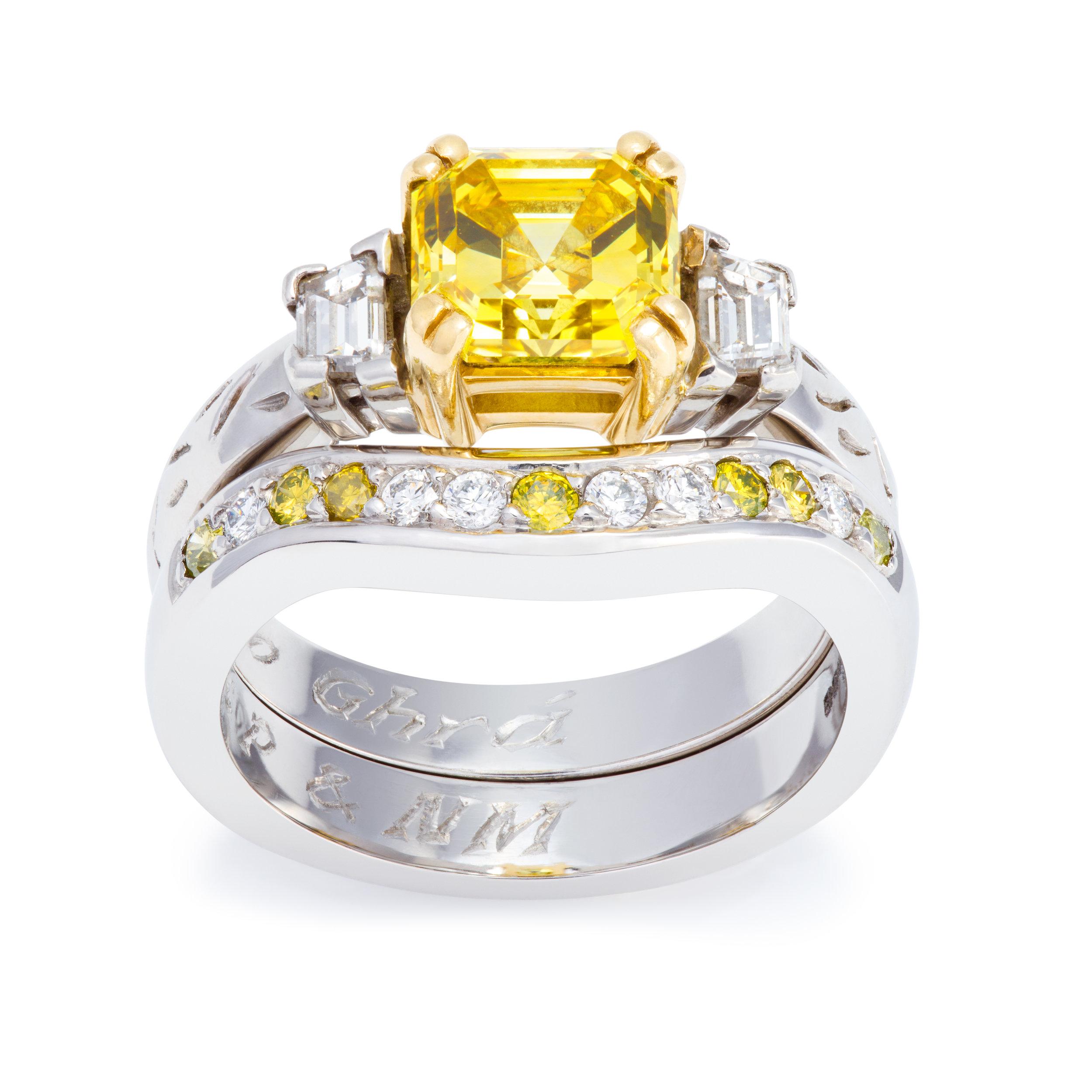 Bespoke platinum engagement ring and wedding ring commission both set with yellow diamonds and white diamonds.