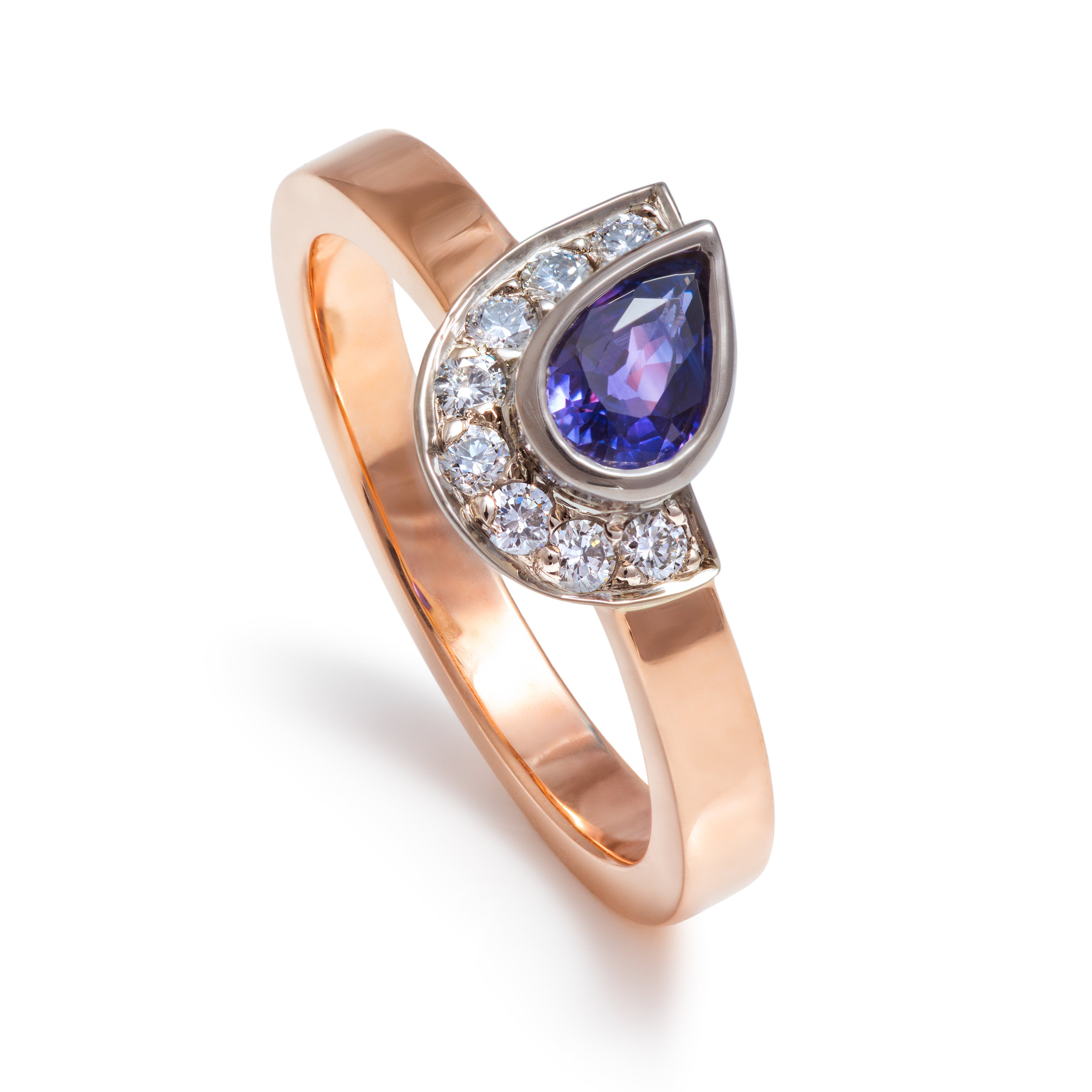 Bespoke 9ct rose gold, purple sapphire and diamond ring commission