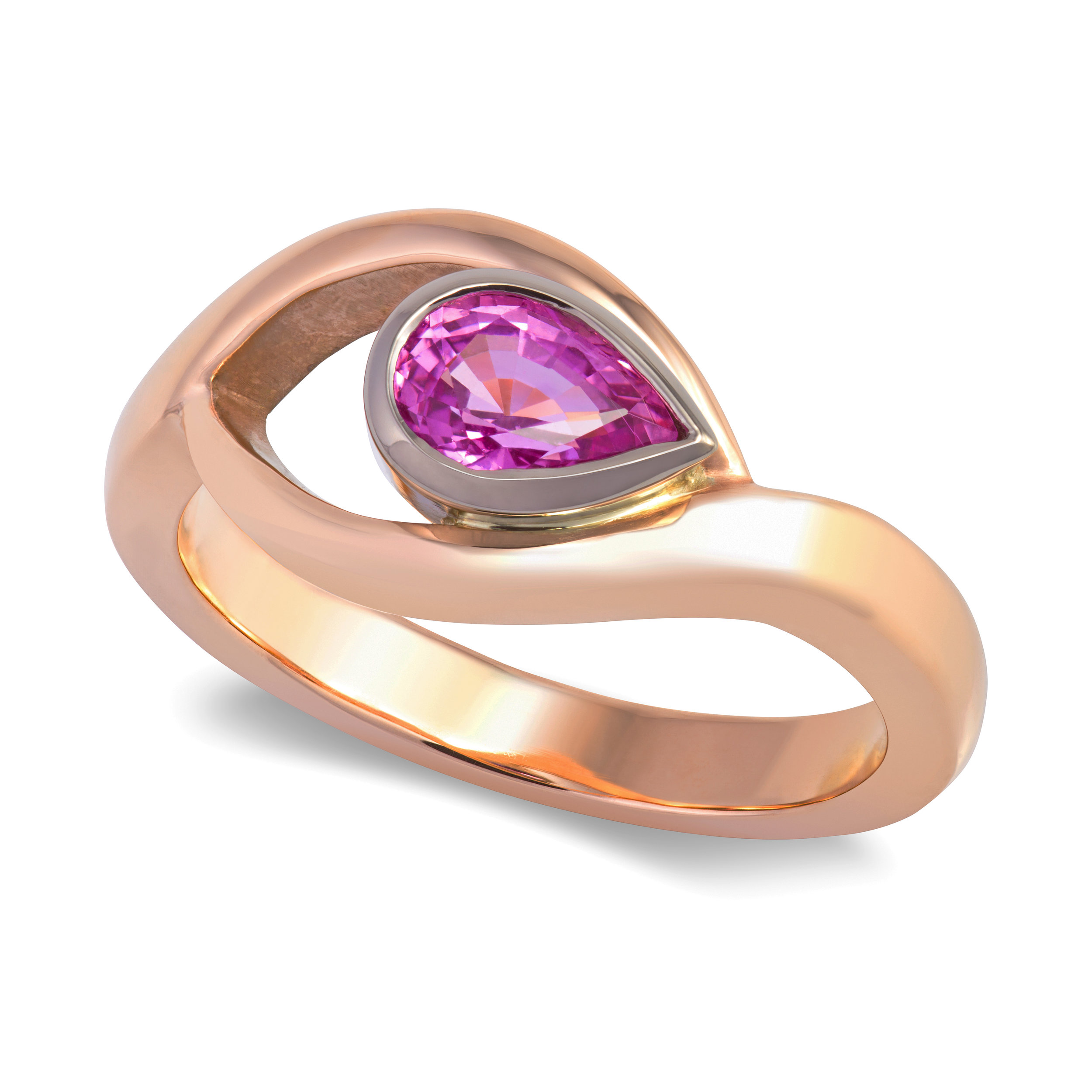 Bespoke 9ct rose gold and pink sapphire engagement ring commission