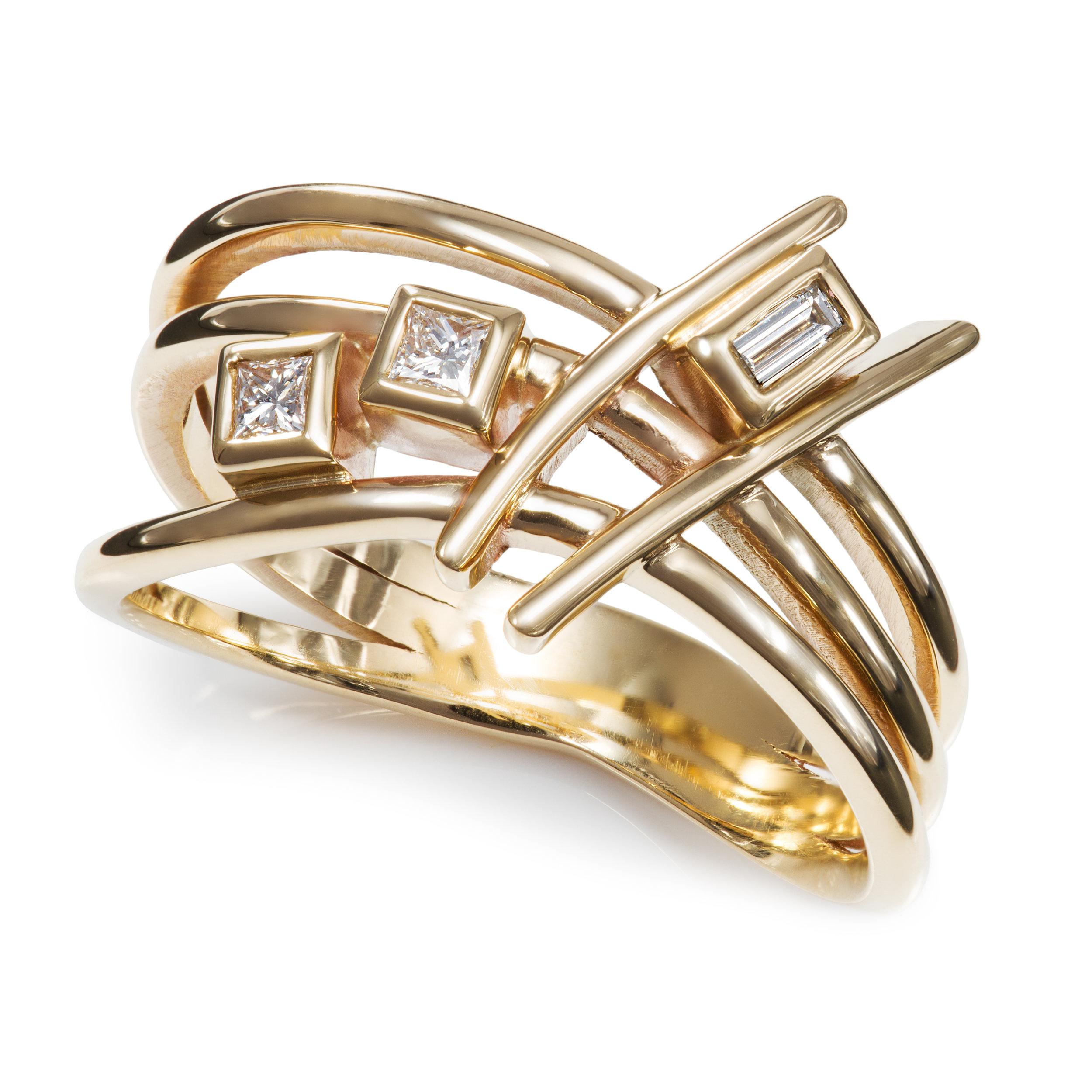 Bespoke 9ct yellow gold and diamond dress ring commission