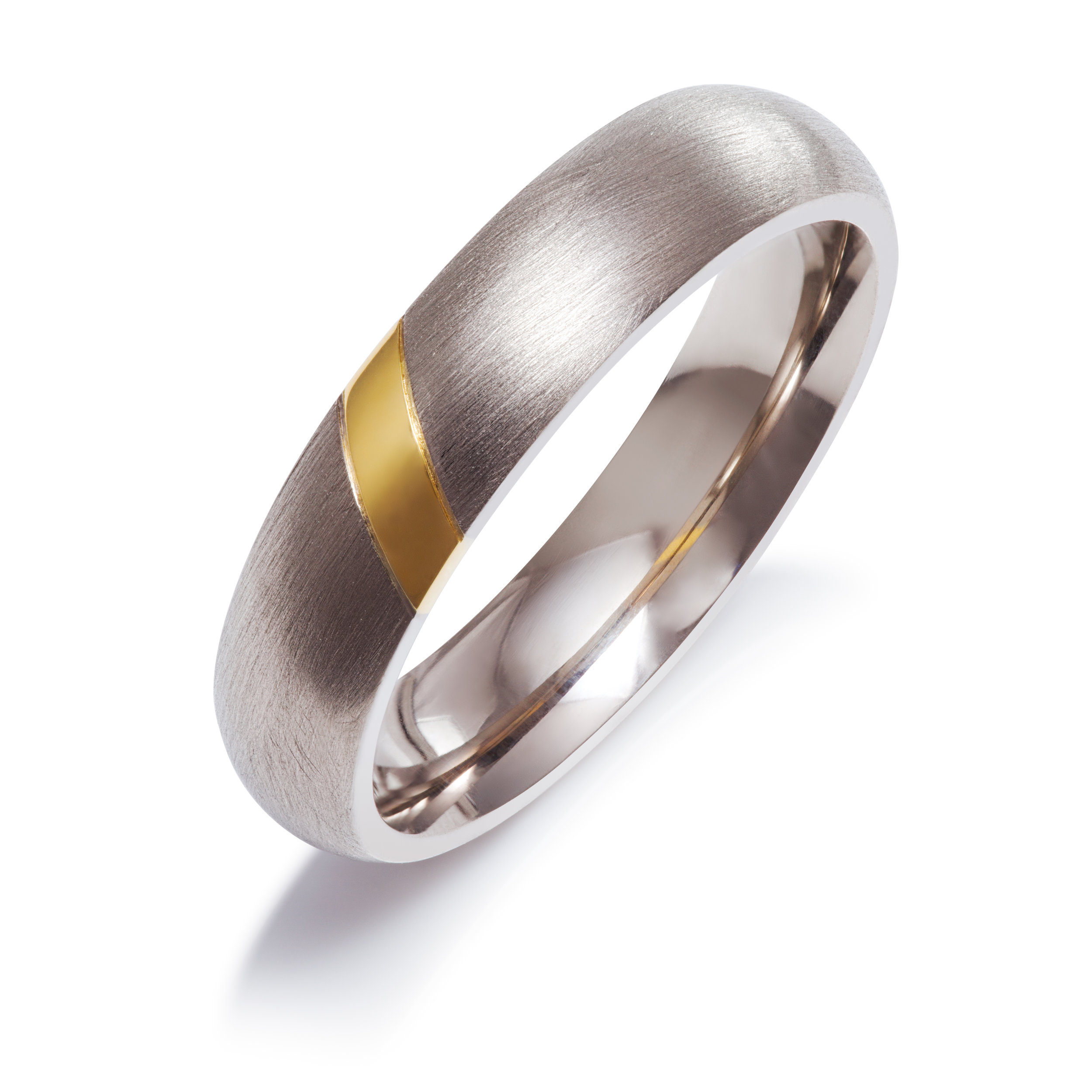 Bespoke 18ct white gold and 18ct yellow gold gents wedding ring commission