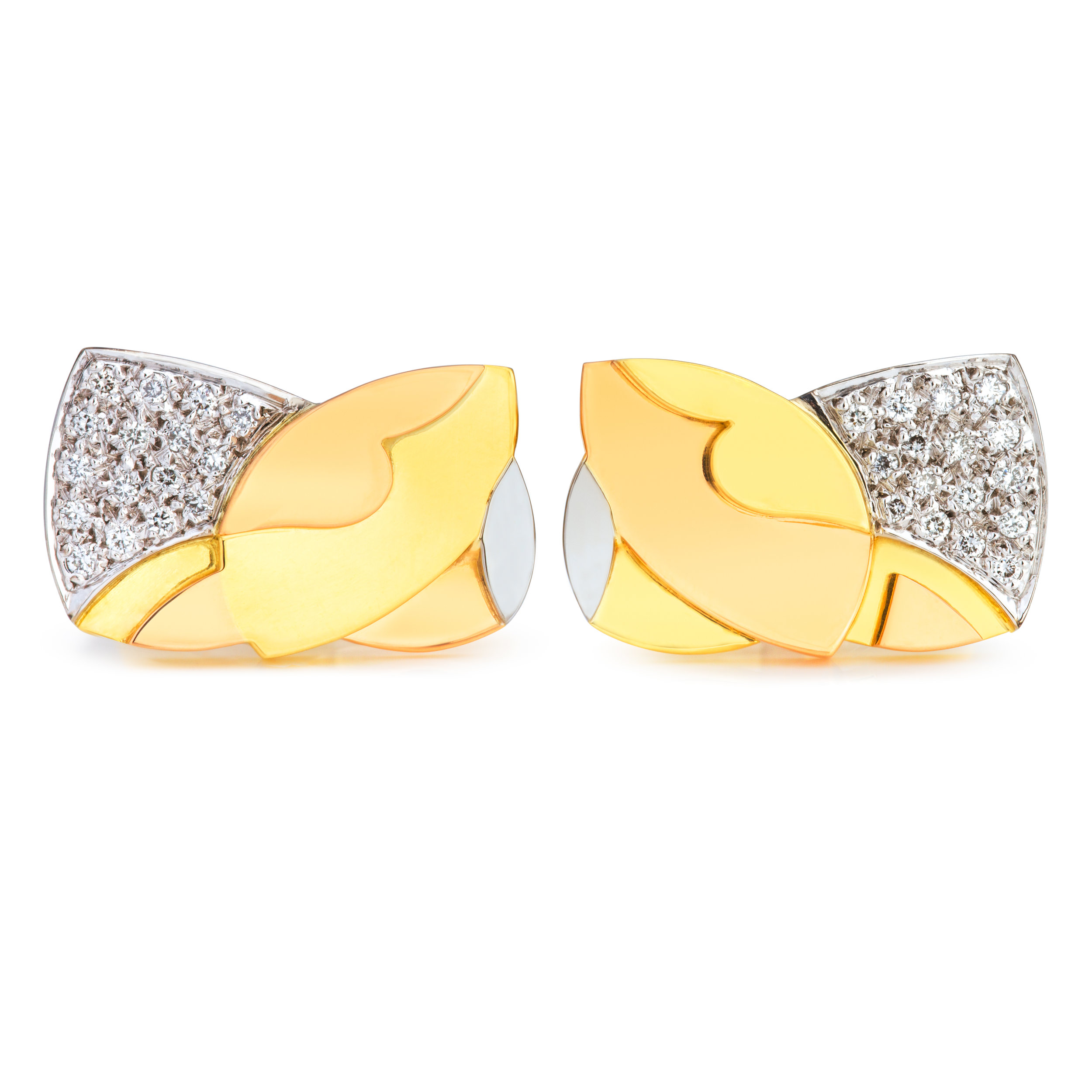 Bespoke 18ct yellow, rose,white gold and diamond cufflink commission