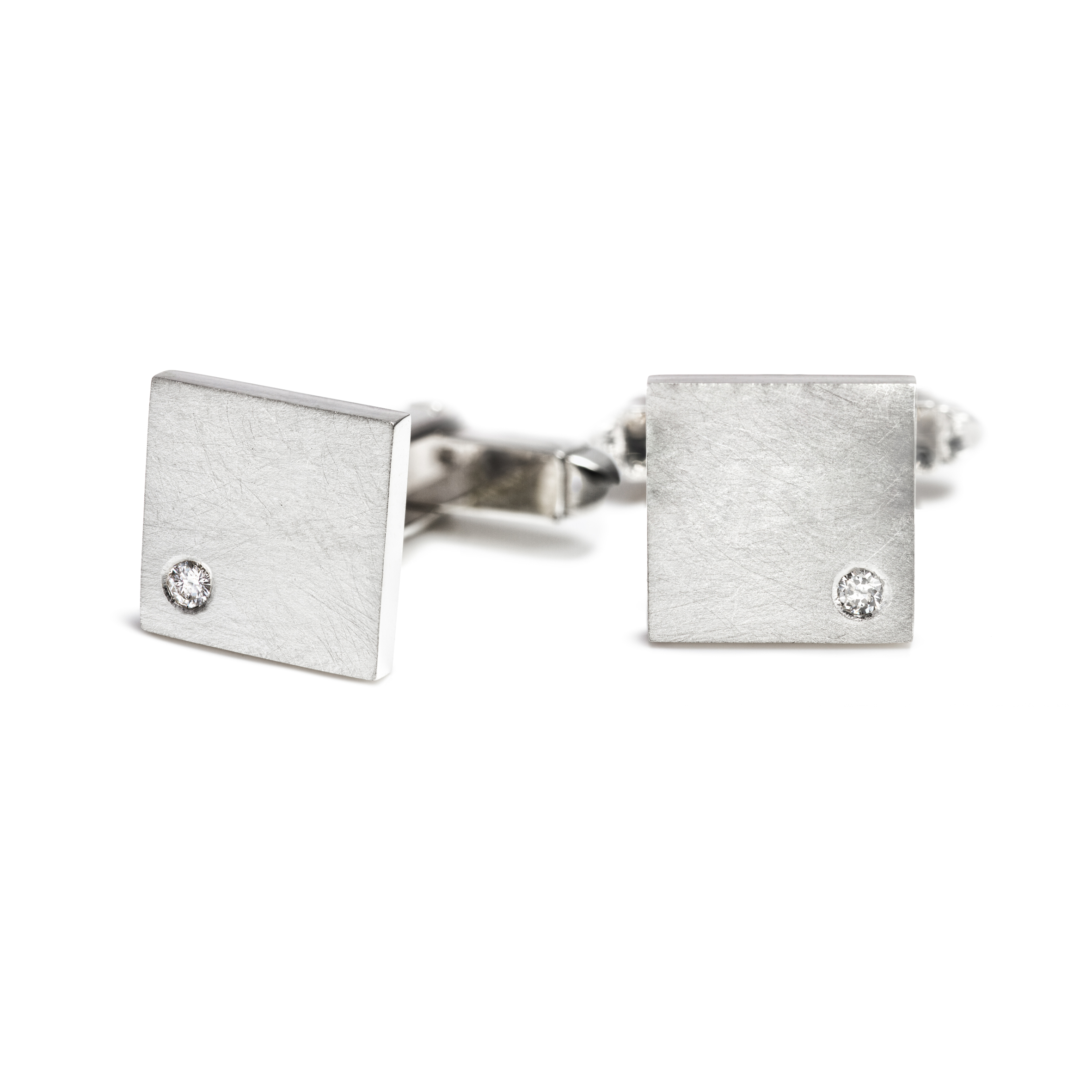Bespoke silver and diamond cufflink commission