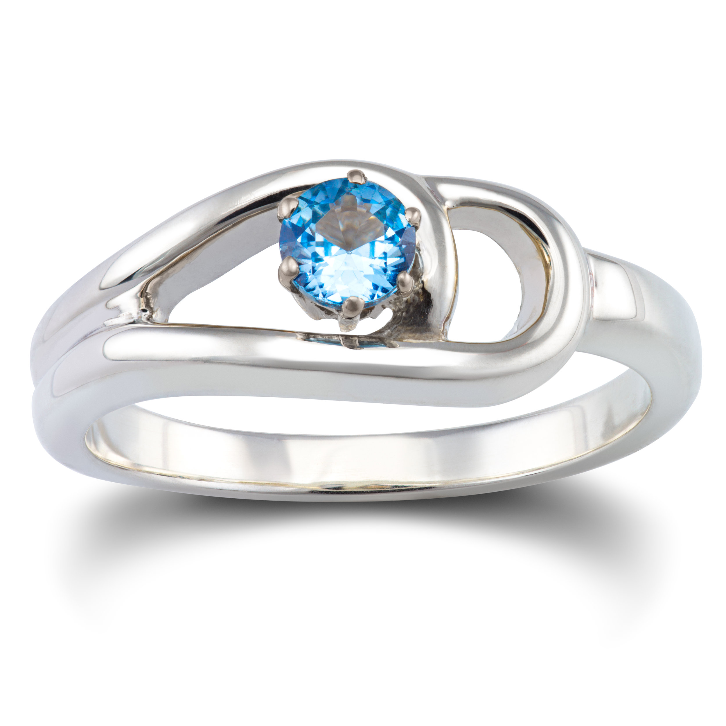 Silver ring set with a lab created spinel in an 18ct white gold claw setting -£315