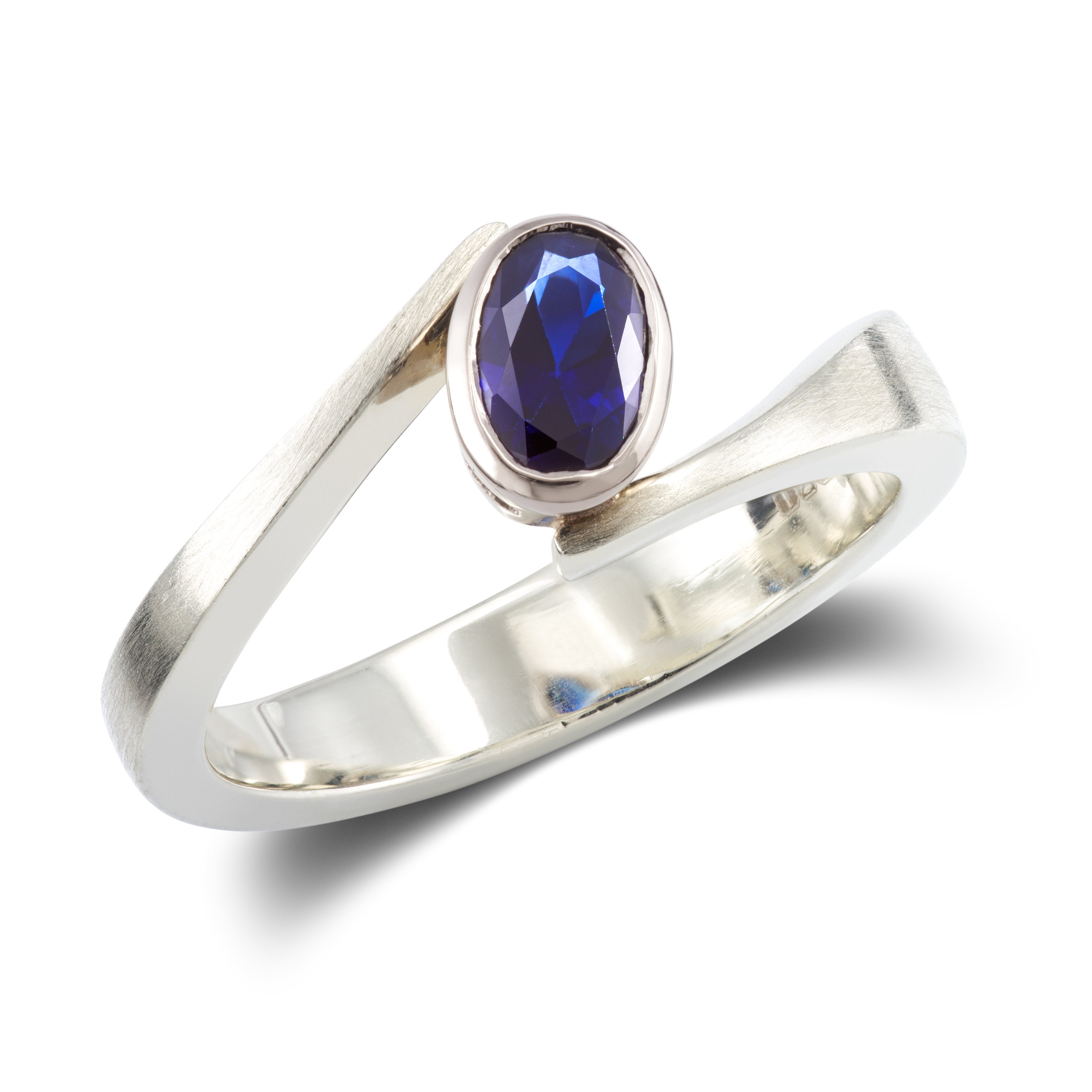 9ct white gold and lab created sapphire ring - £715