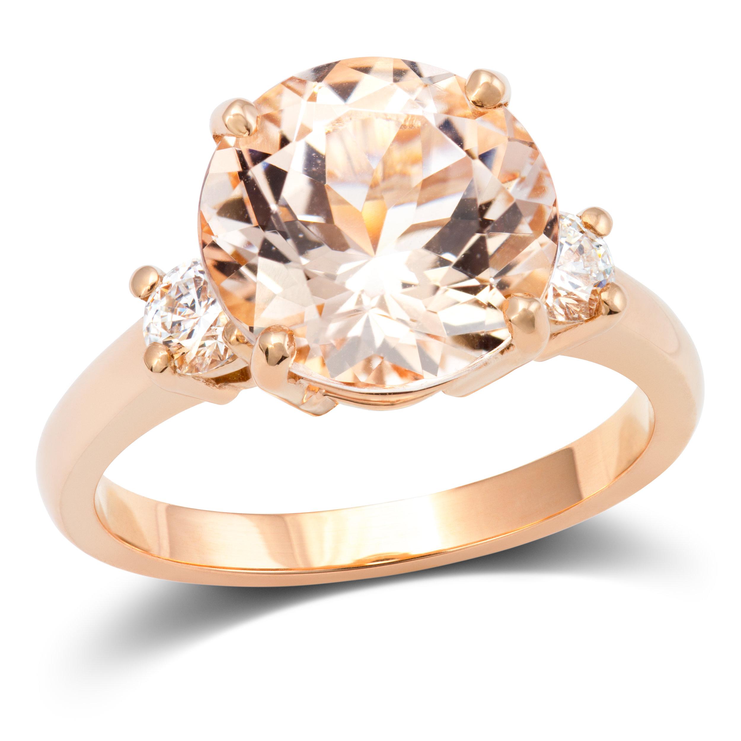 18ct rose gold, morganite and diamond ring - £2,769