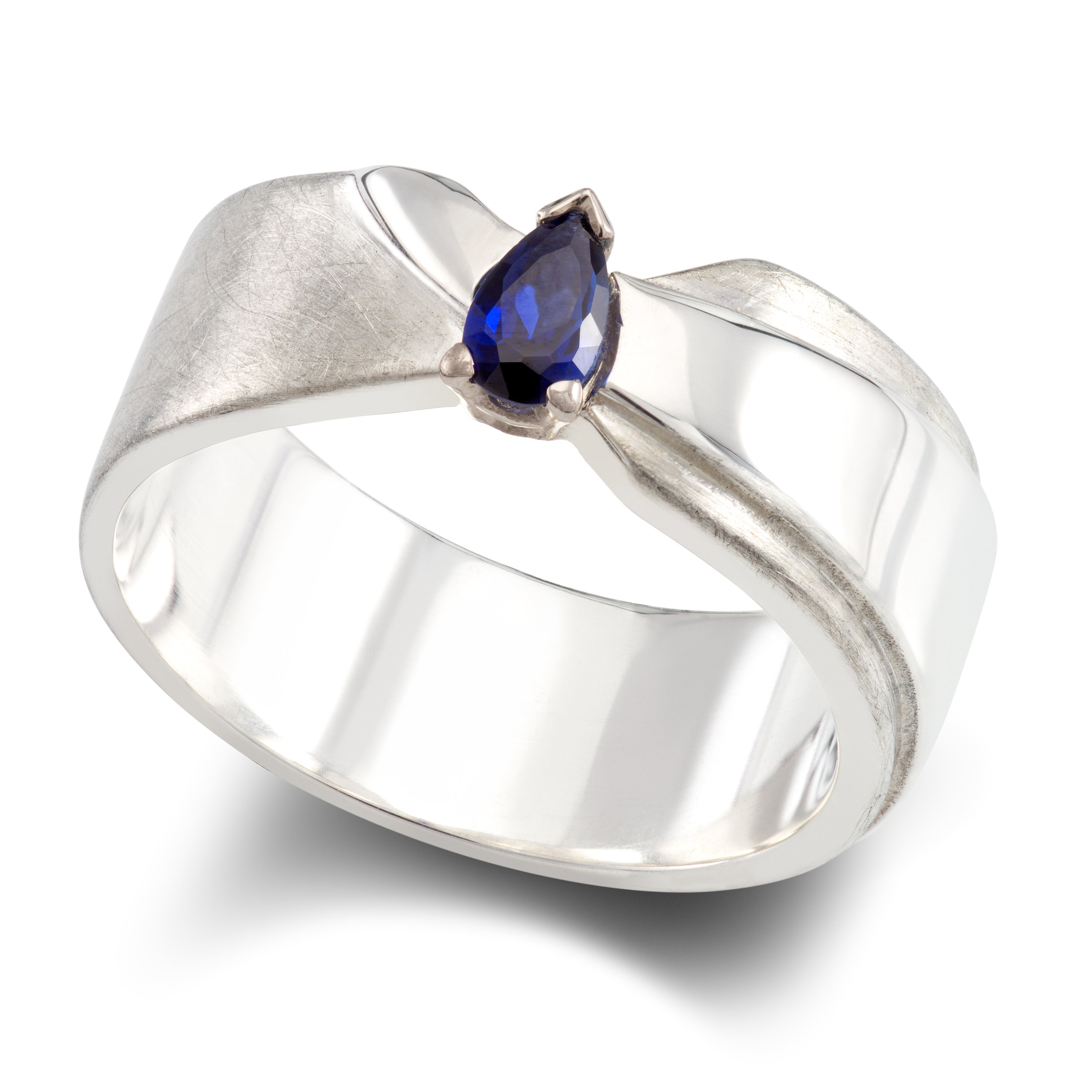 Silver dress ring set with one pear shaped lab-created sapphire in an 18ct white gold claw setting - £205