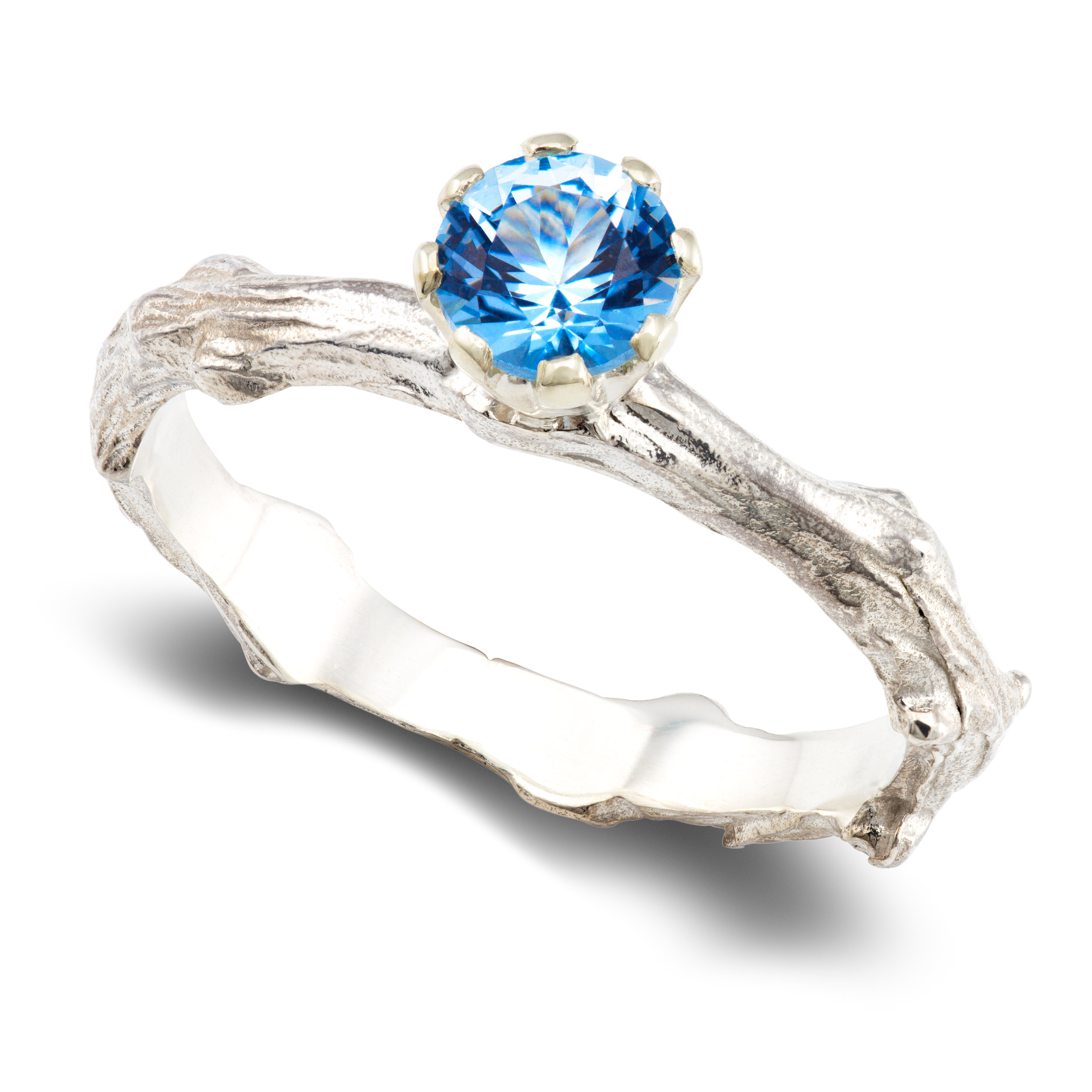 Silver & lab-created blue spinel ring - £270