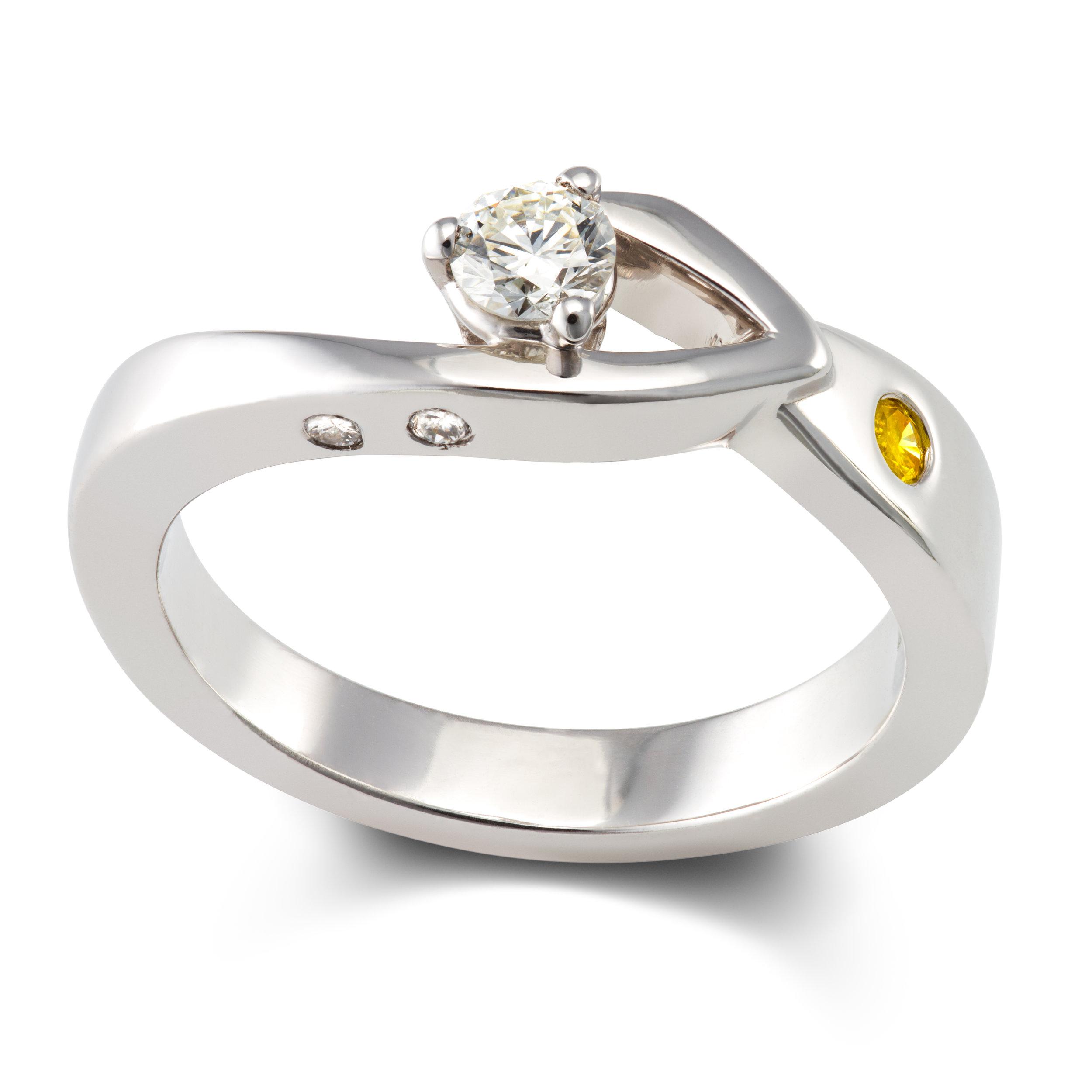 18ct white gold,diamond and natural yellow diamond engagement ring - £2,195